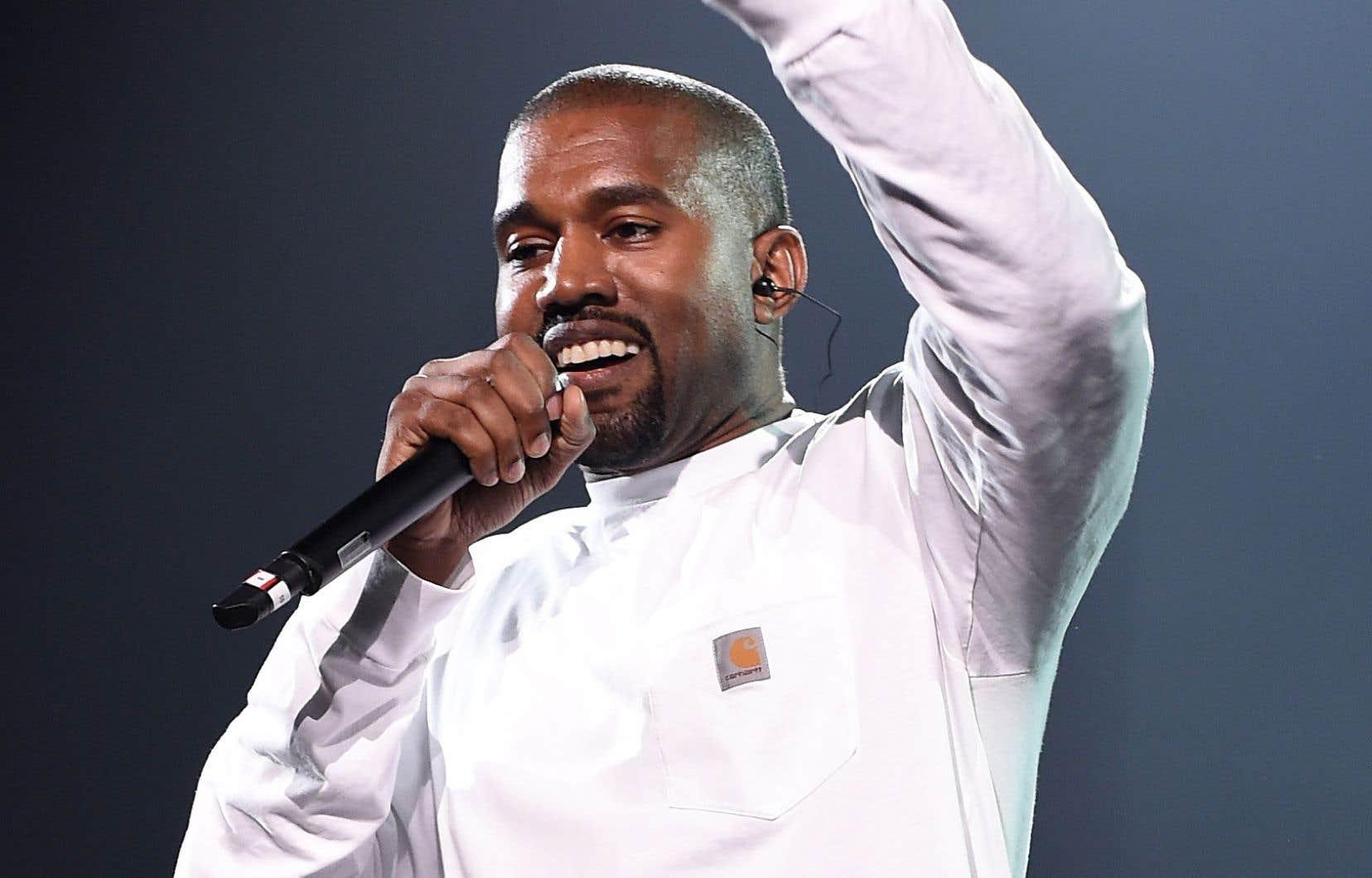 Le rappeur Kanye West, en pleine performance au Madison Square Garden, à New York, en 2016