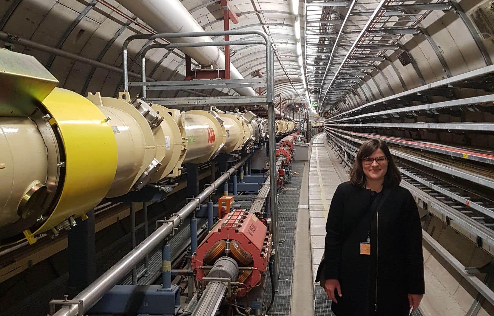 Gabrielle Simard, dans le tunnel HERA, un accélérateur de particules situé à Hambourg, en Allemagne