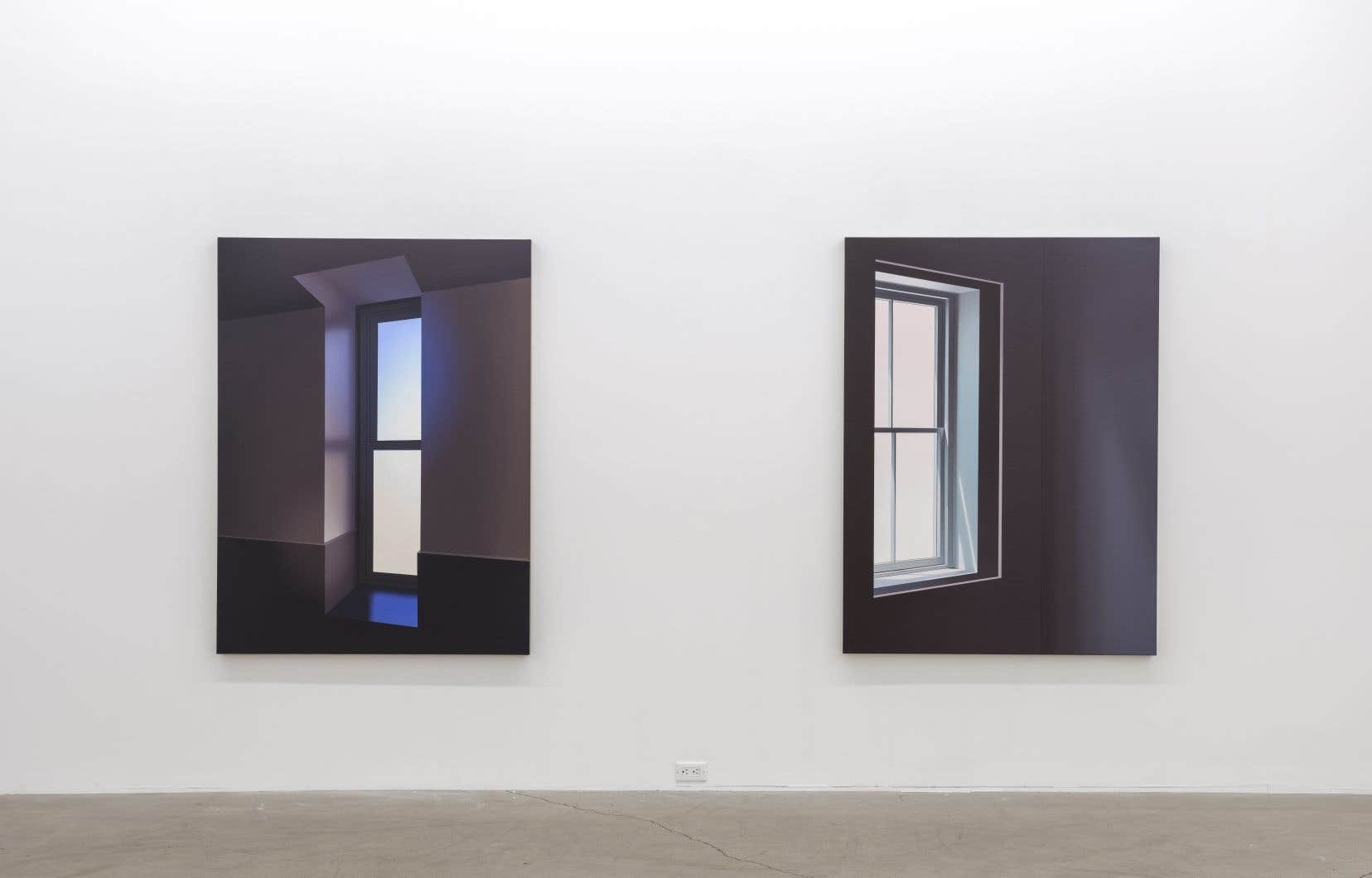 Vue de l'exposition de Pierre Dorion montrant «Exposure II» et «Window (RS)» de 2018