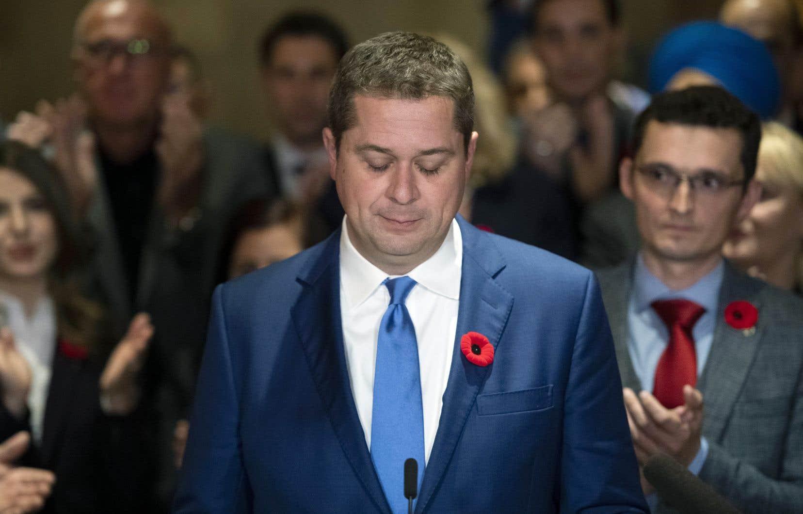 Le chef conservateur, Andrew Scheer, après la réunion de son caucus au cours de laquelle on a entrepris de faire le bilan de la campagne électorale.