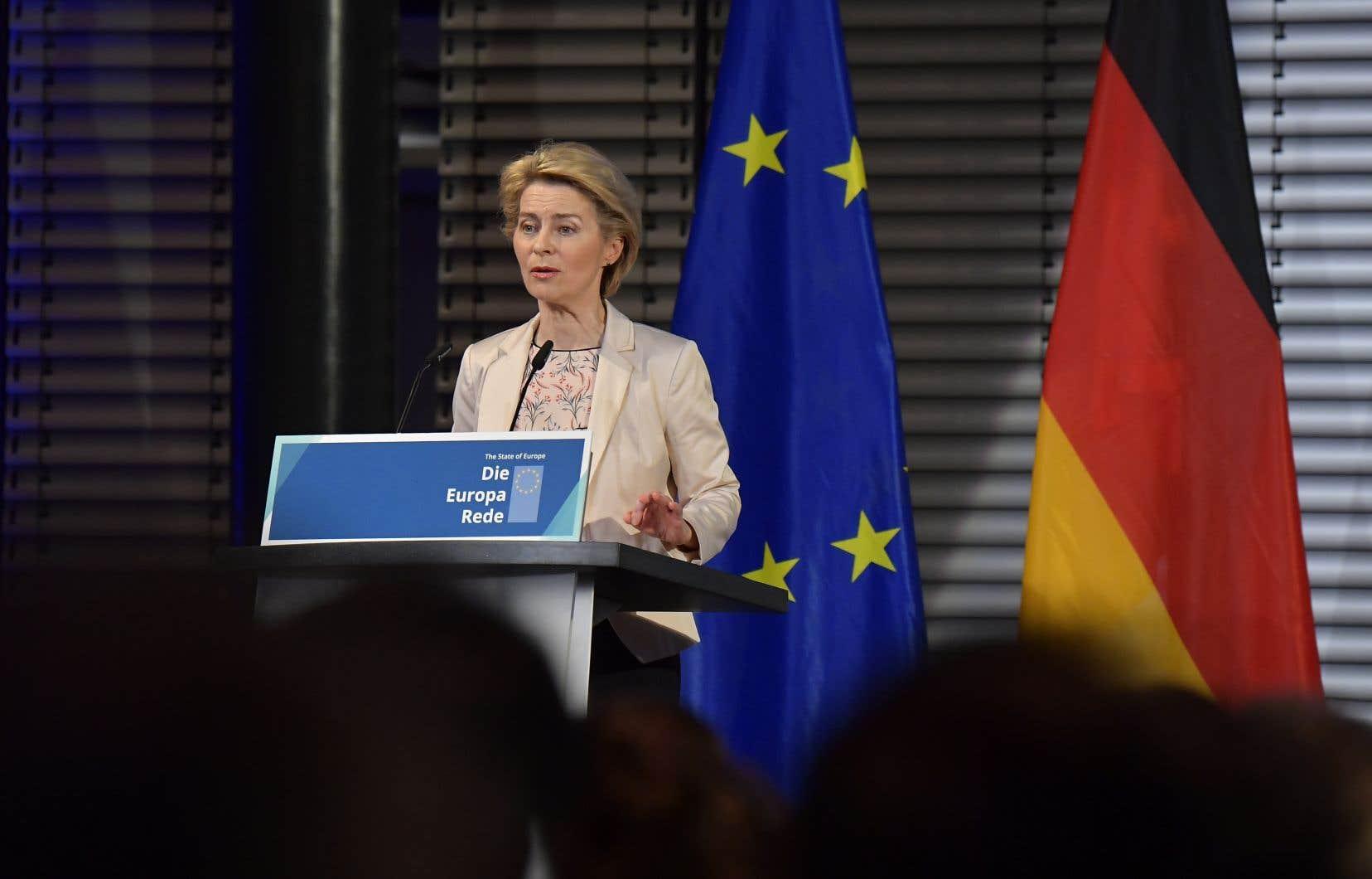 La présidente désignée de la Commission européenne, Ursula von der Leyen
