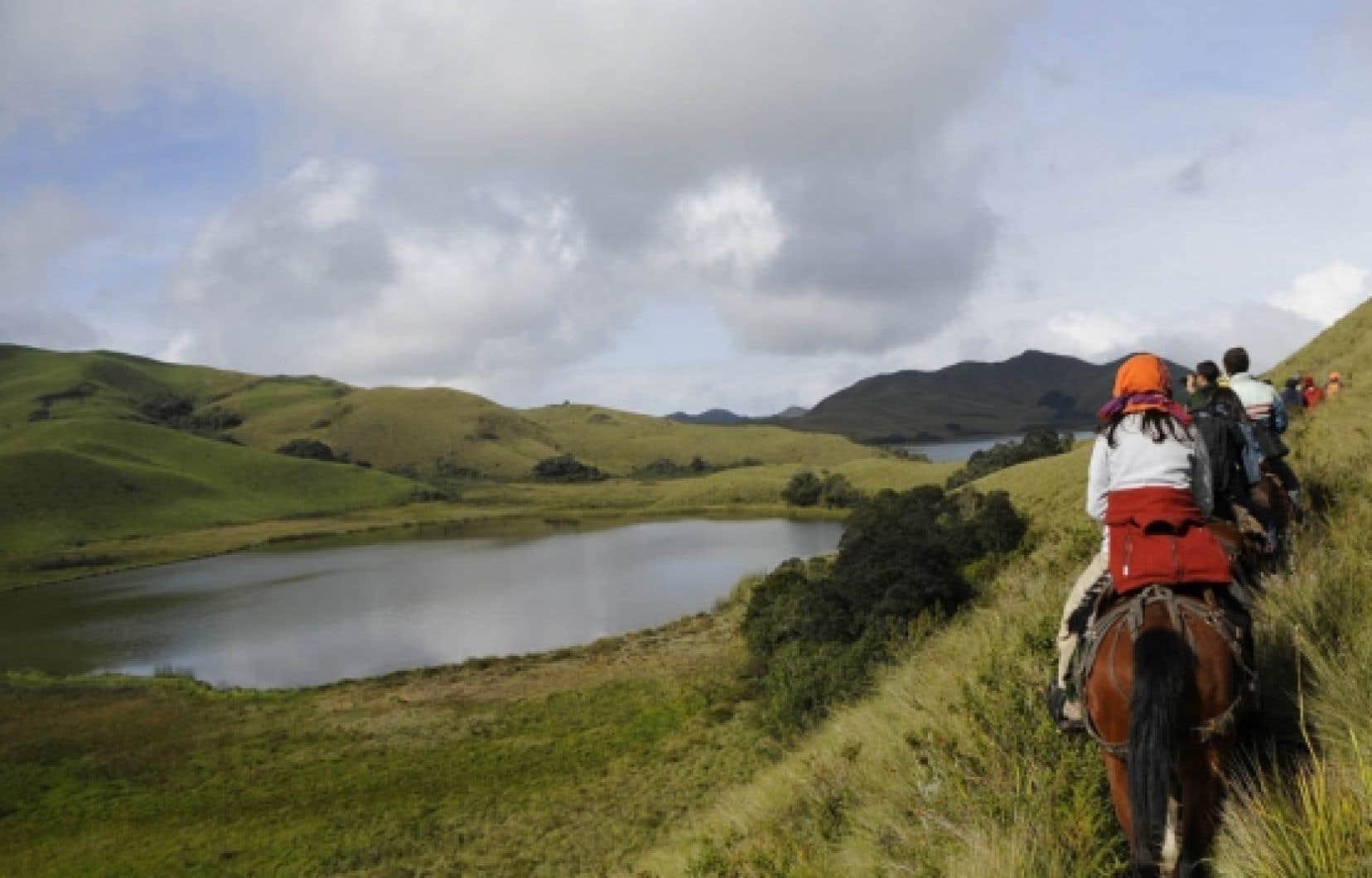 Un groupe de touristes se promènent à dos de cheval près de la communauté de Pinan, en Équateur. <br />