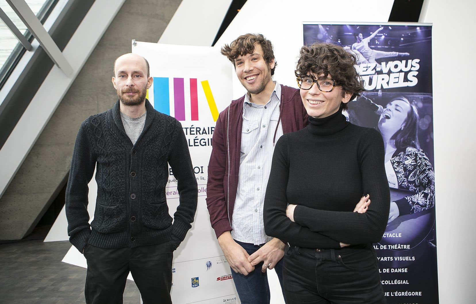 Les finalistes Louis Carmain, Simon Leduc et Alexie Morin, lors du dévoilement au Musée des beaux-arts de Montréal