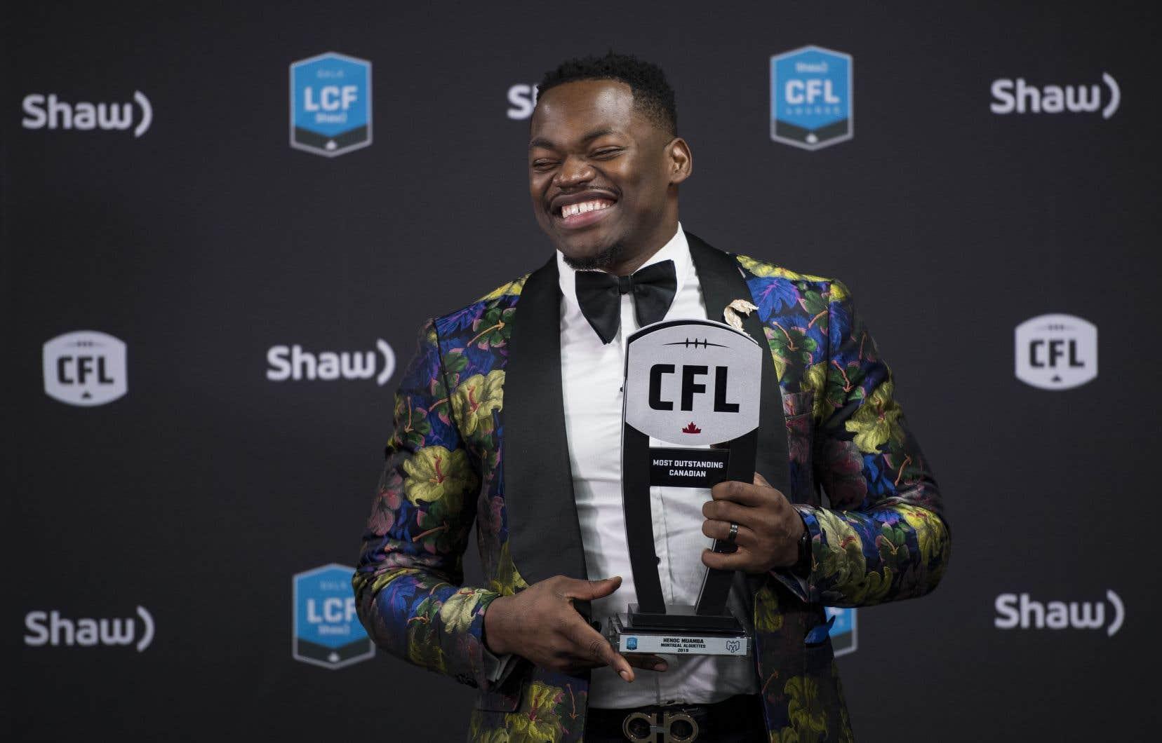 Henoc Muamba a été nommé joueur canadien par excellence de la LCF.