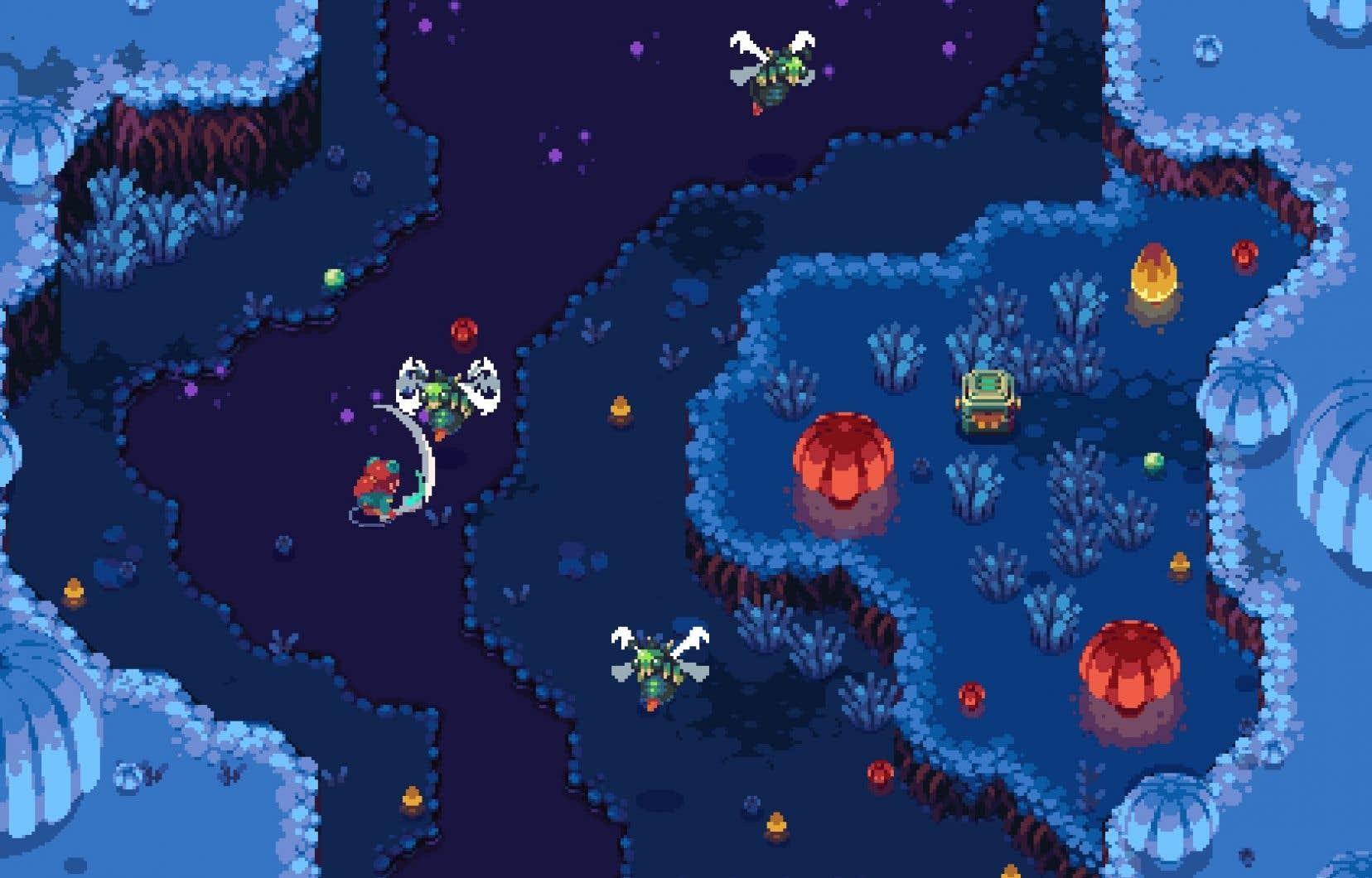 On aime beaucoup l'esthétique rétro du jeu, largement inspirée de la série «Zelda» telle qu'on la connaissait sur les différents Game Boy de Nintendo.