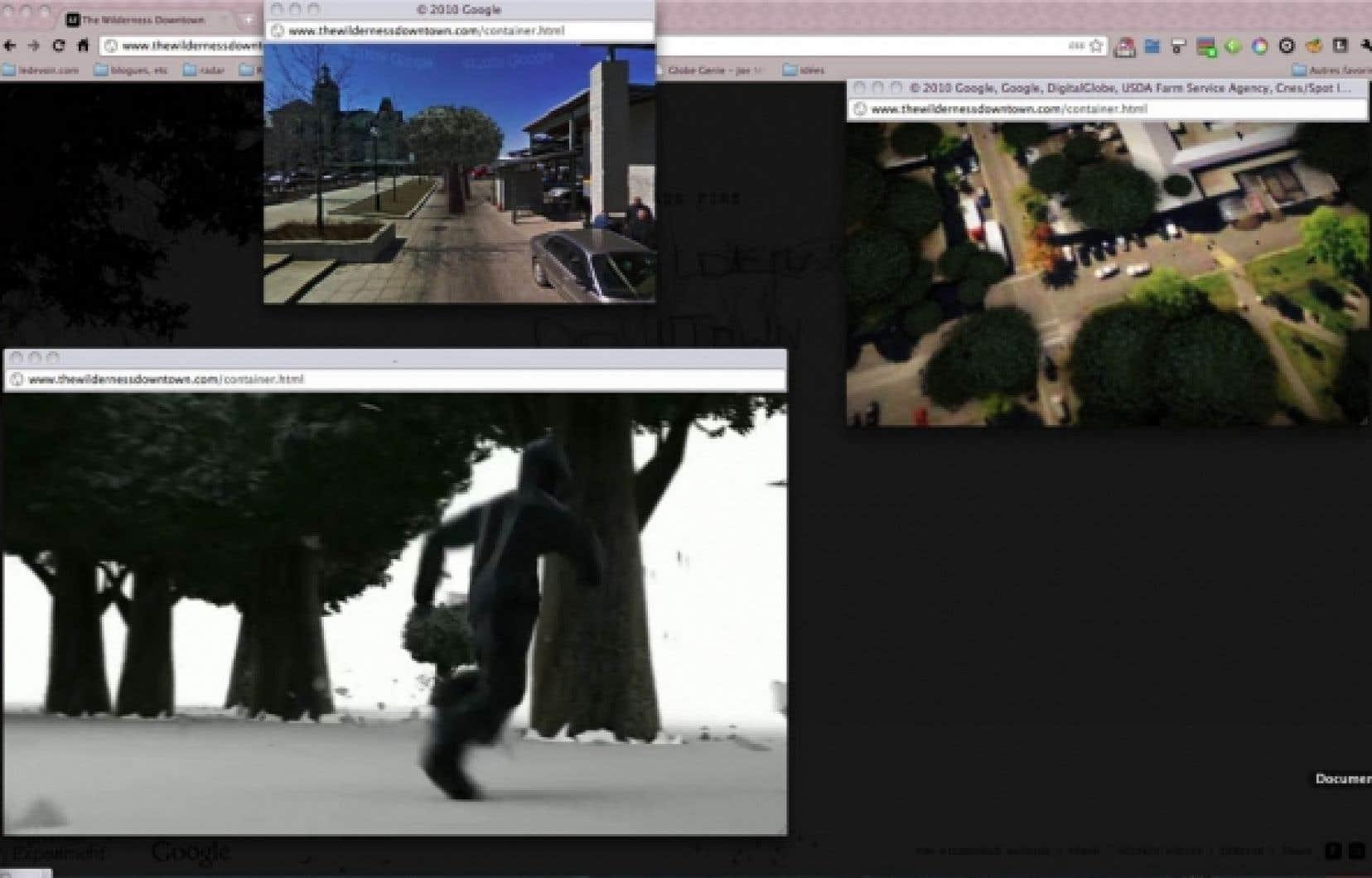 Images tirées de Google Earth aux dessins d'animation du dernier clip de Arcade Fire, The Wilderness Downtown<br />