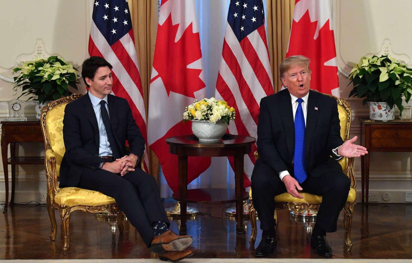Le premier ministre Justin Trudeau et le président américain Donald Trumplors d'un point de presse conjoint en marge d'une importante réunion de l'OTAN, mardi à Londres.