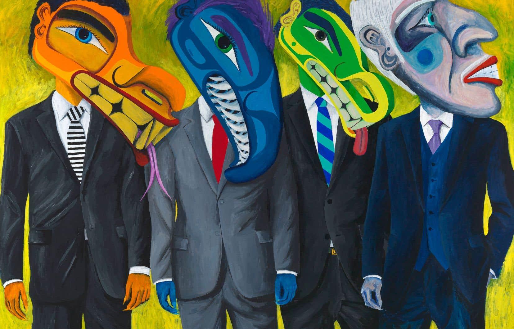 Lawrence Paul Yuxweluptun, «Super-rapaces: le un pour cent», 2015, acrylique sur toile