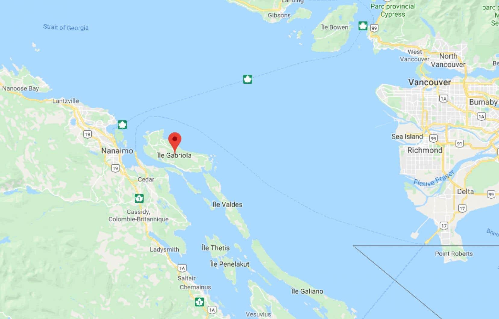 L'accident s'est produit vers 18h30, mardi, sur l'île Gabriola dans le détroit de Géorgie, face à la ville de Nanaimo.