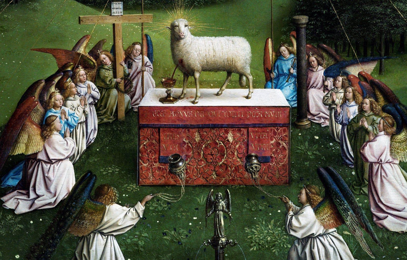 Détail de «L'agneau mystique» des frères Van Eyck, après sa restauration