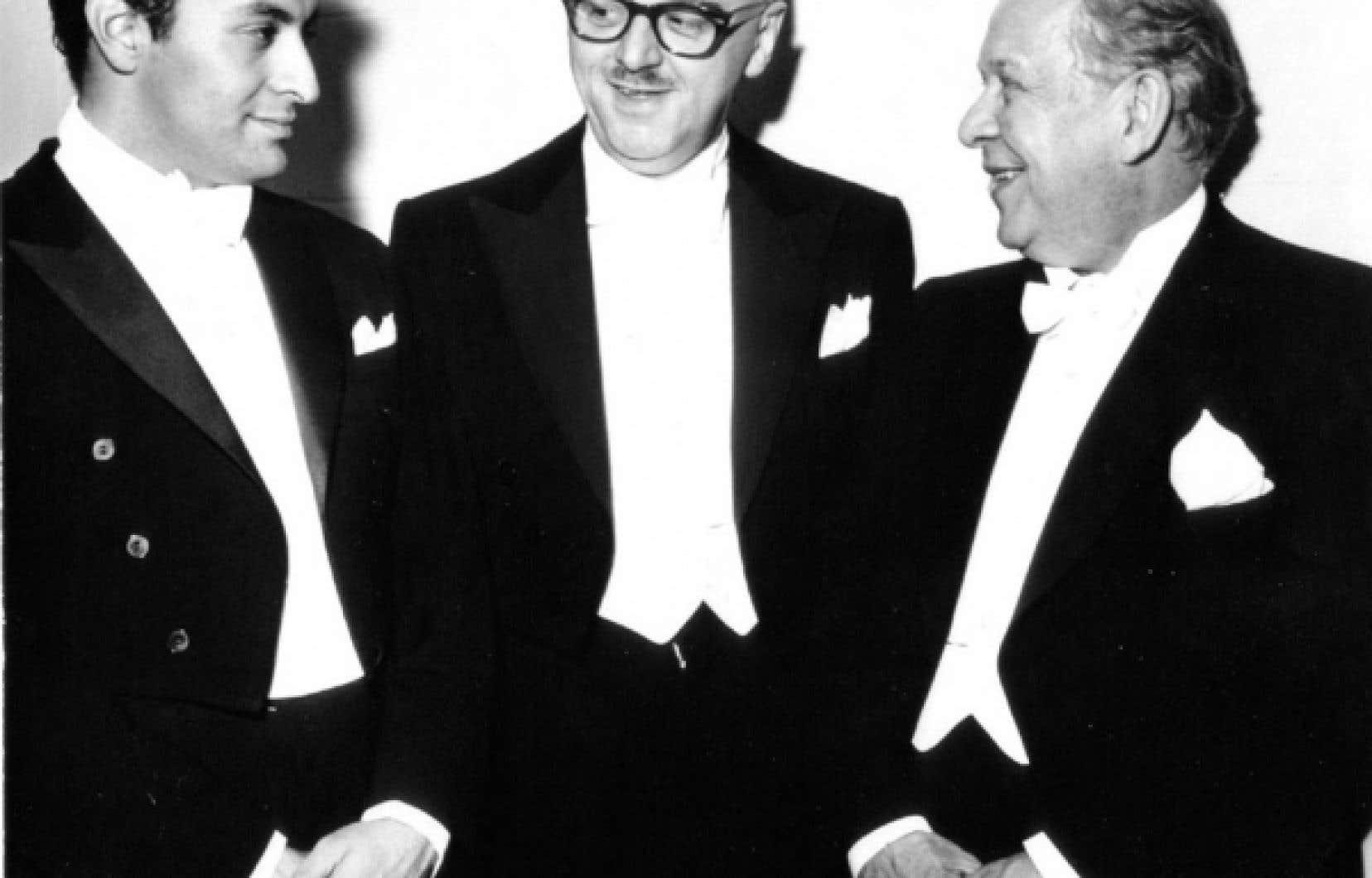 Wilfrid Pelletier, à droite, est le premier directeur musical de l'OSM. Il a partagé avec Zubin Mehta (à gauche) le concert inaugural de la Place des Arts, le 21 septembre 1963. <br />