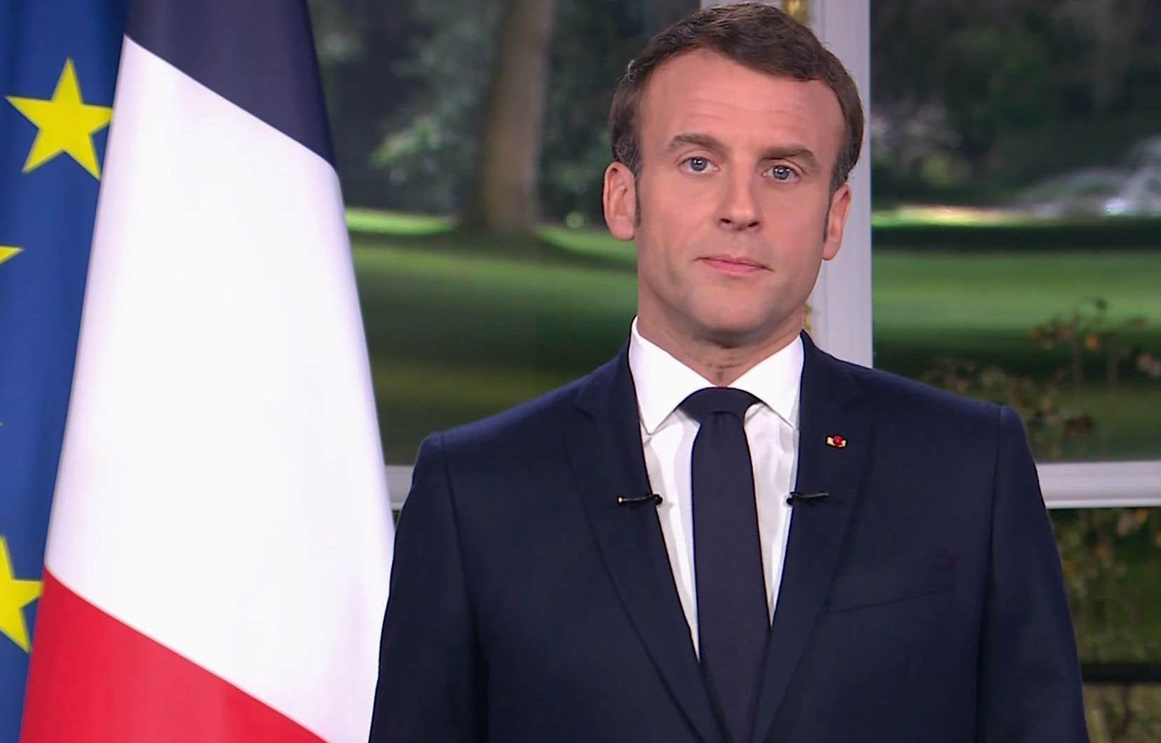 Le président français, Emmanuel Macron, durant son allocution télévisée du Nouvel An