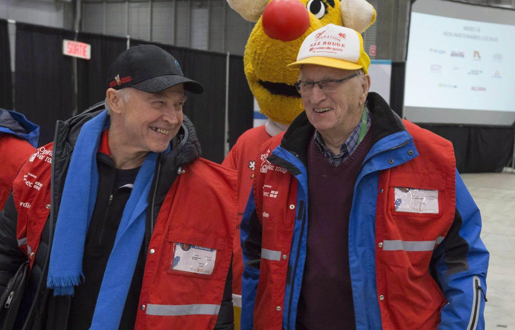 Le fondateur de l'Opération Nez rouge, Jean-Marie De Koninck (à gauche)