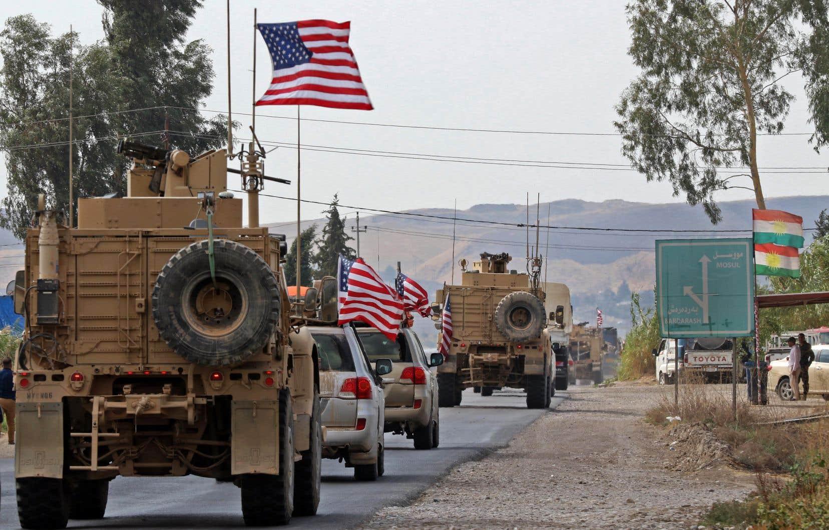Un convoi de véhicules militaire américains en Irak, en octobre dernier.