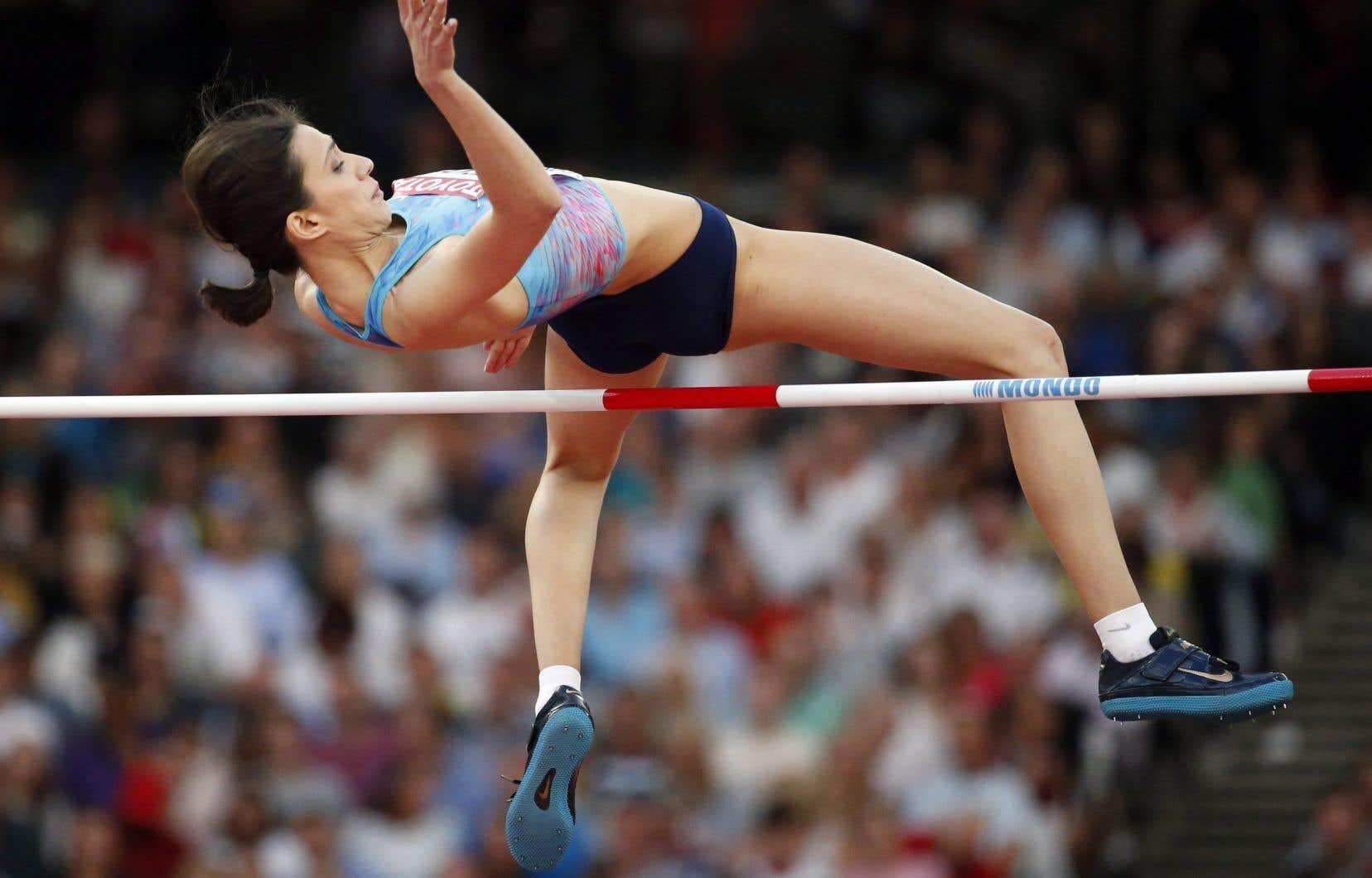Maria Lasitskene, triple championne du monde de saut en hauteur, aux Mondiaux d'athlétisme en 2017
