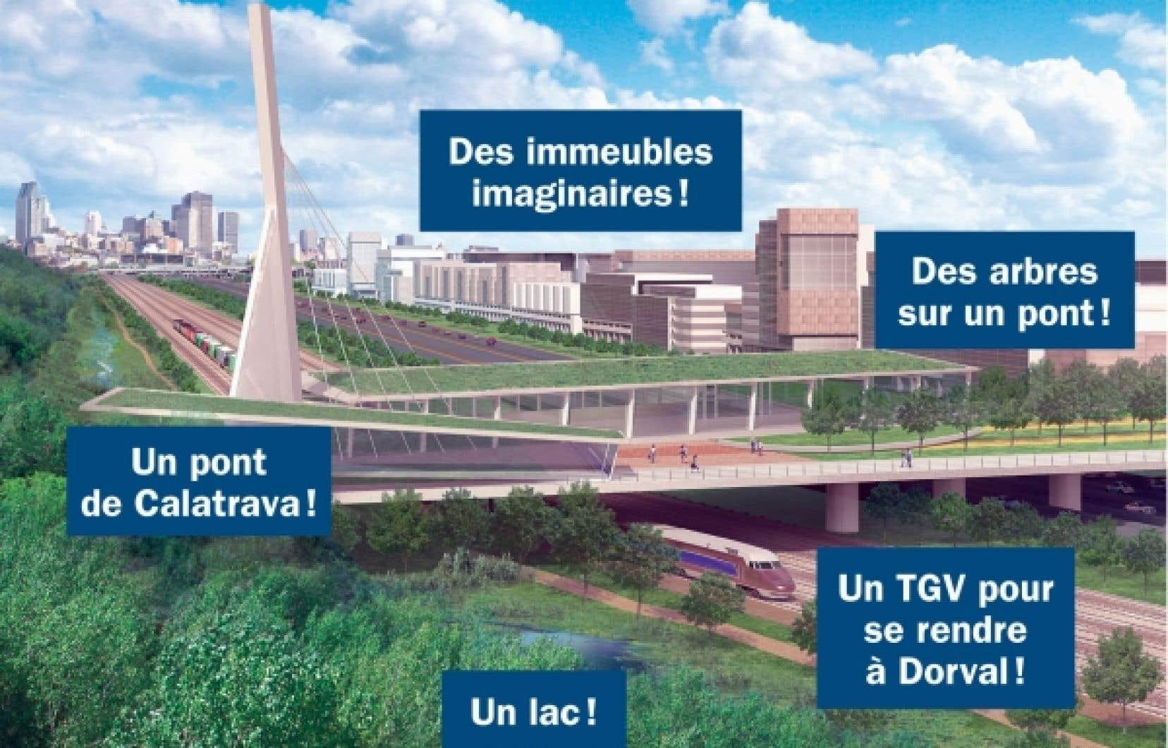 Les images virtuelles du futur grand carrefour des autoroutes urbaines de Montréal montrent un paradis du transport, mais aussi l'Éden du développement vert et durable abritant un florilège de la meilleure architecture mondiale.