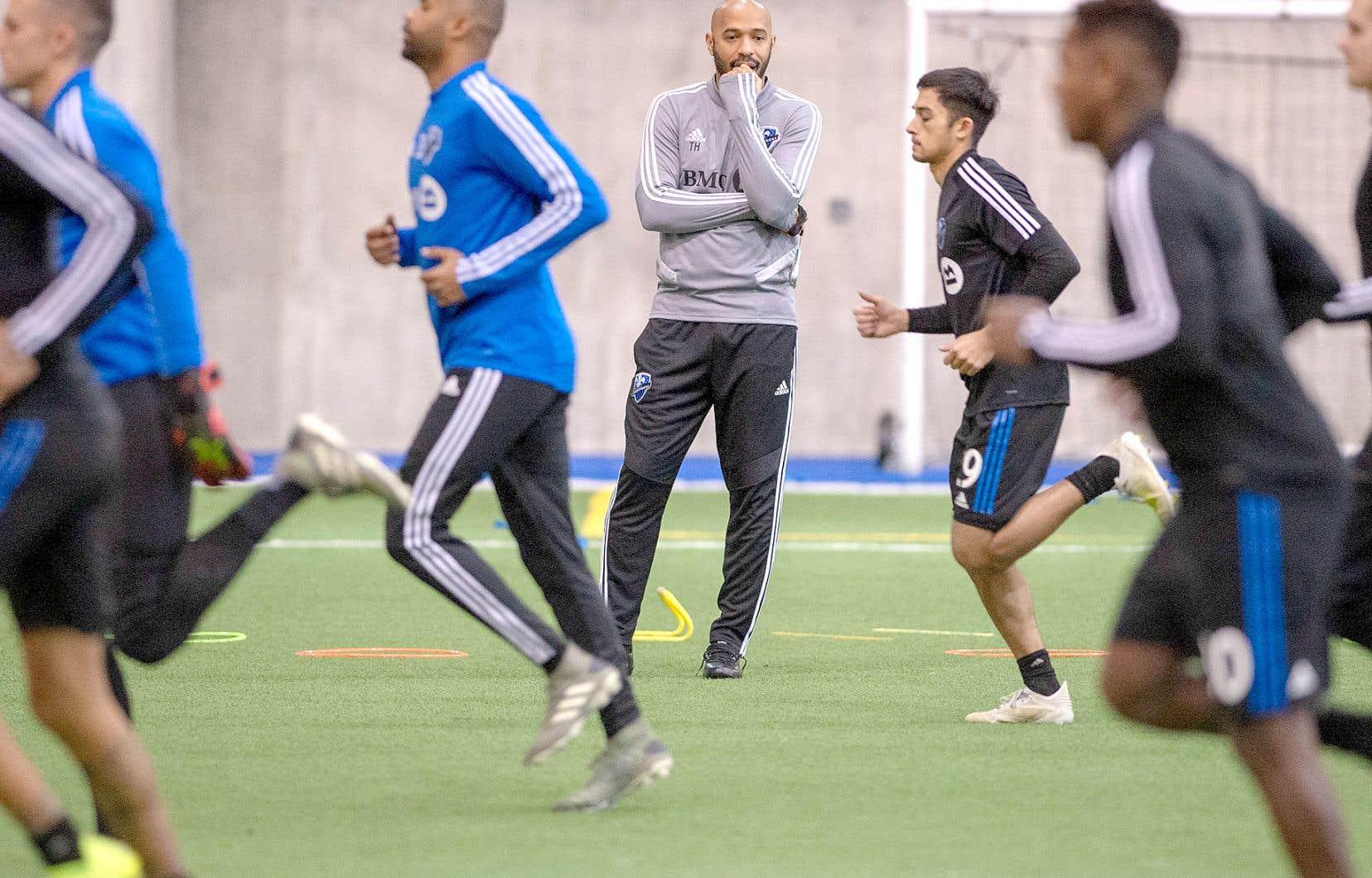 Thierry Henry a dirigé son premier entraînement avec l'Impact de Montréal mardi.