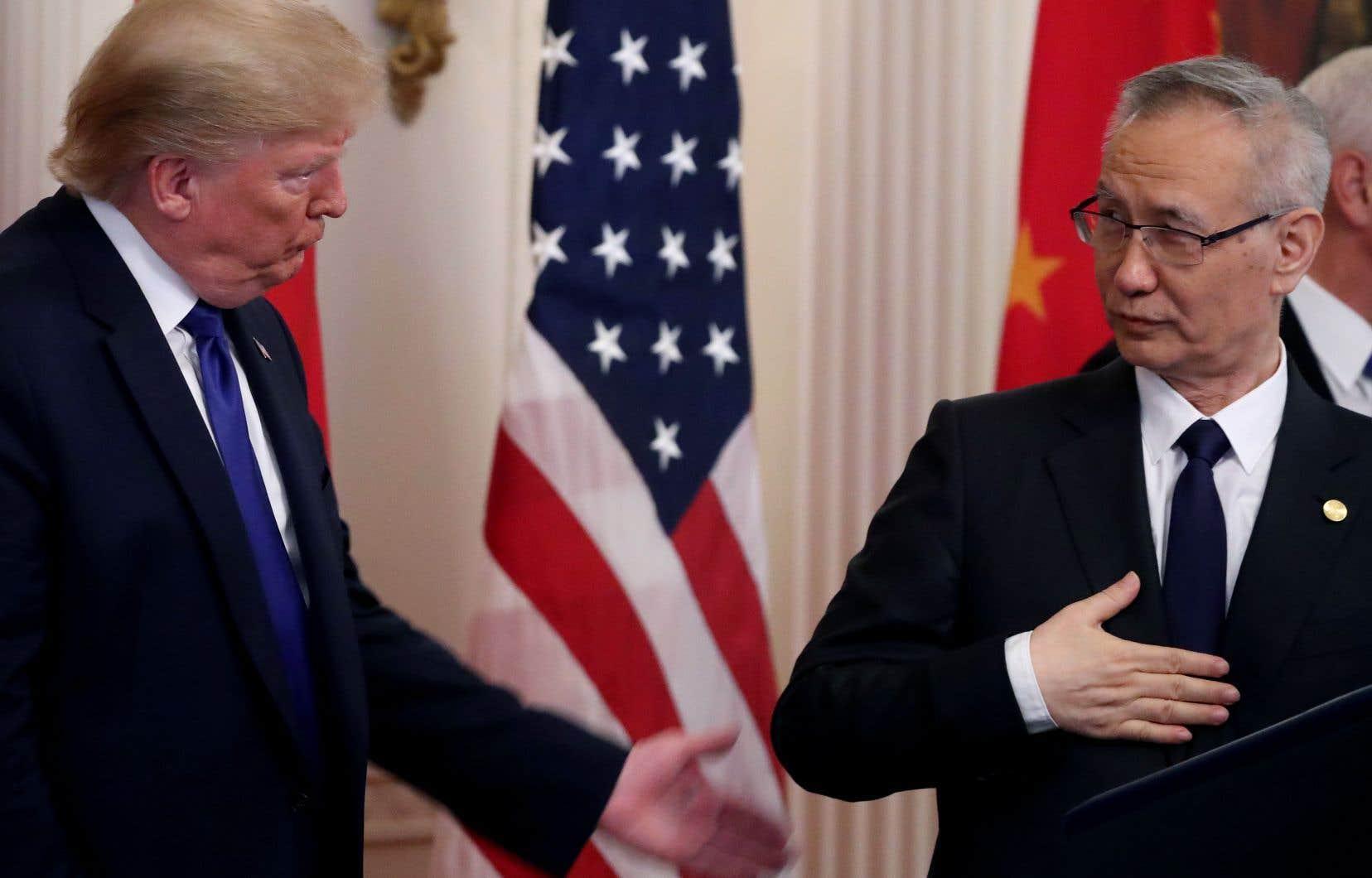 Le président américain Donald Trump avecle vice-premier ministre chinois Liu He