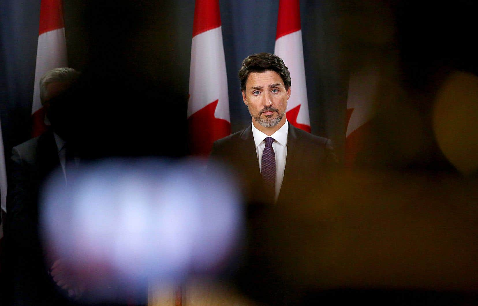 Le premier ministre lors d'un point de presse concernant l'écrasement du vol 752 d'Ukraine International Airlines en Iran, le 9 janvier dernier à Ottawa