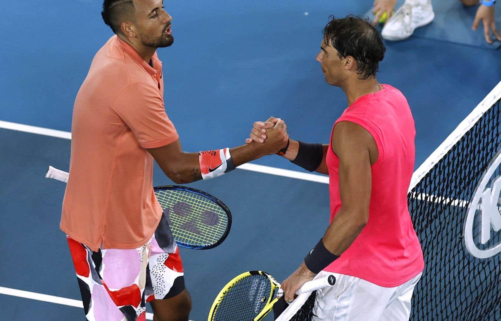 Nadal (à droite) est parvenu à vaincre Nick Kyrgios en quatre manches,6-3, 3-6, 7-6 (6), 7-6 (4).