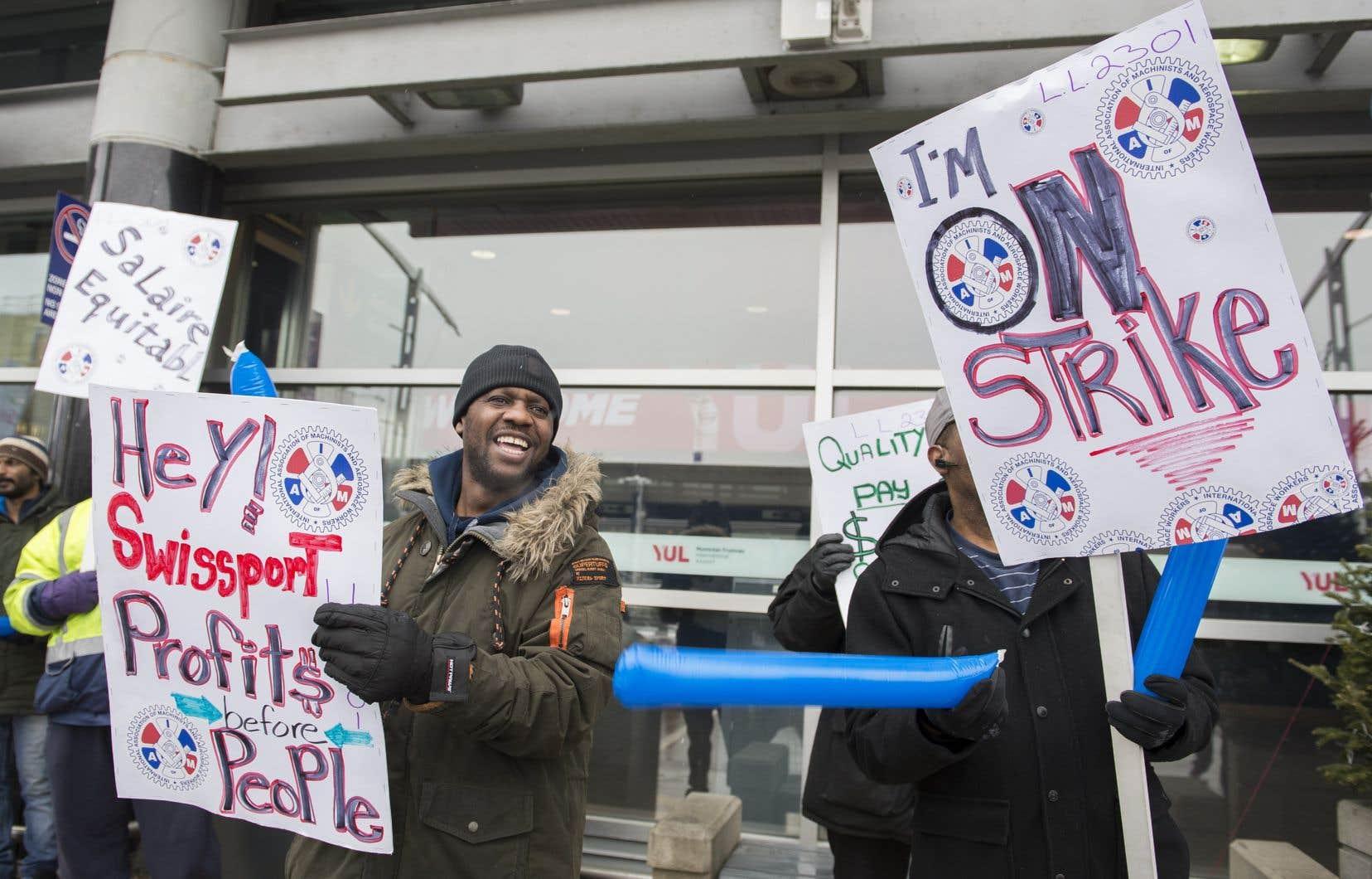 Manifestation des employés de Swissport en grève, le 31 décembre dernier