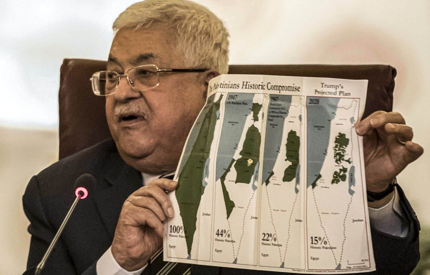 L'organisation s'est réunie auCaireaprès l'annonce du plan américain, en présence du président palestinien Mahmoud Abbas, qui leur a présenté des cartes de l'évolution des territoires palestieniens et les projections selon le plan de Donald Trump.