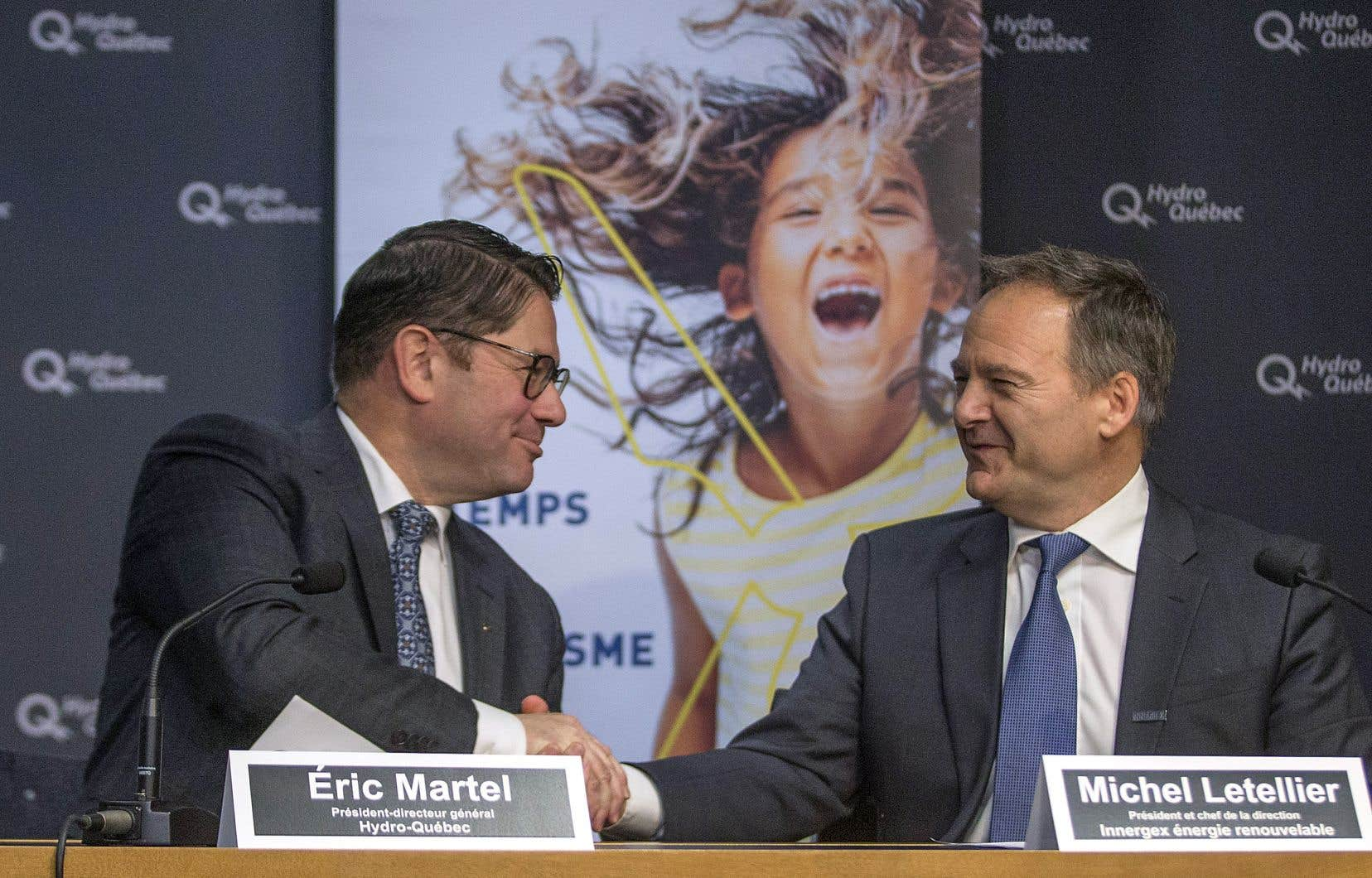 Pour le p.-d.g. d'Hydro-Québec, Éric Martel (à gauche), l'investissement de la société d'État dans Innergex marque la «création d'un champion québécois des énergies renouvelables d'envergure mondiale».