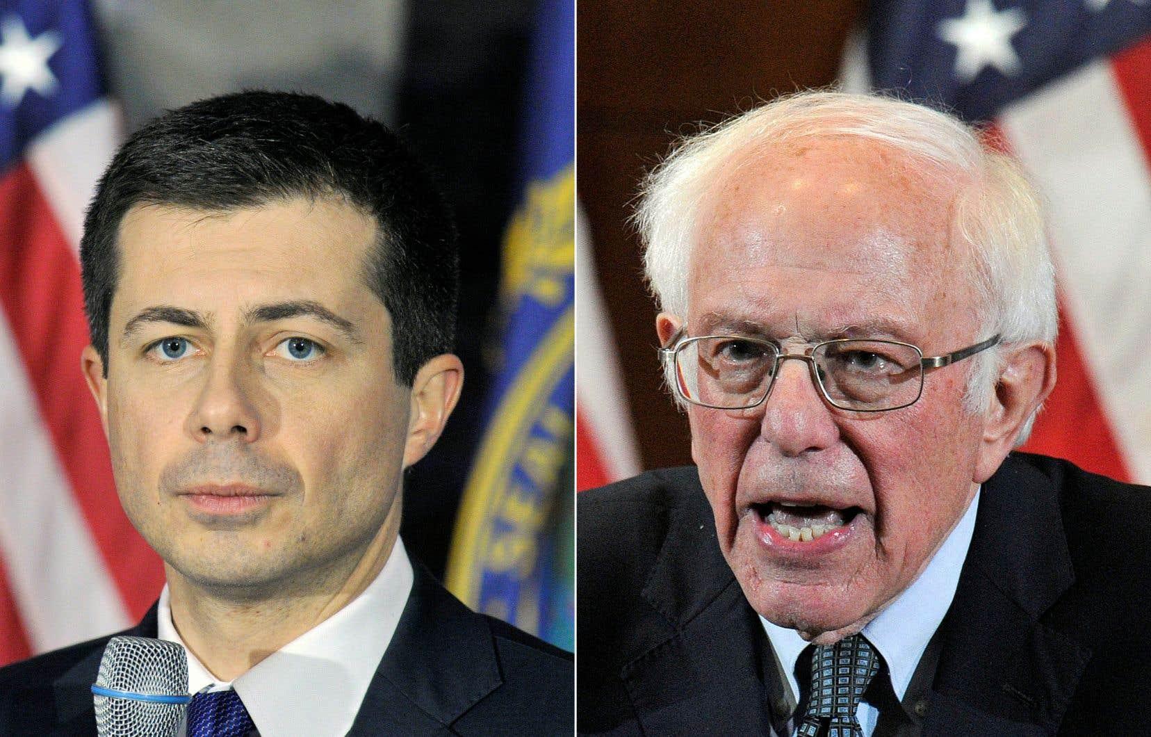 Bernie Sanders (à droite) était au coude-à-coude jeudi avec Pete Buttigieg (à gauche) dans le premier vote des primaires présidentielles démocrates, forçant leurs rivaux à revoir leur stratégie.