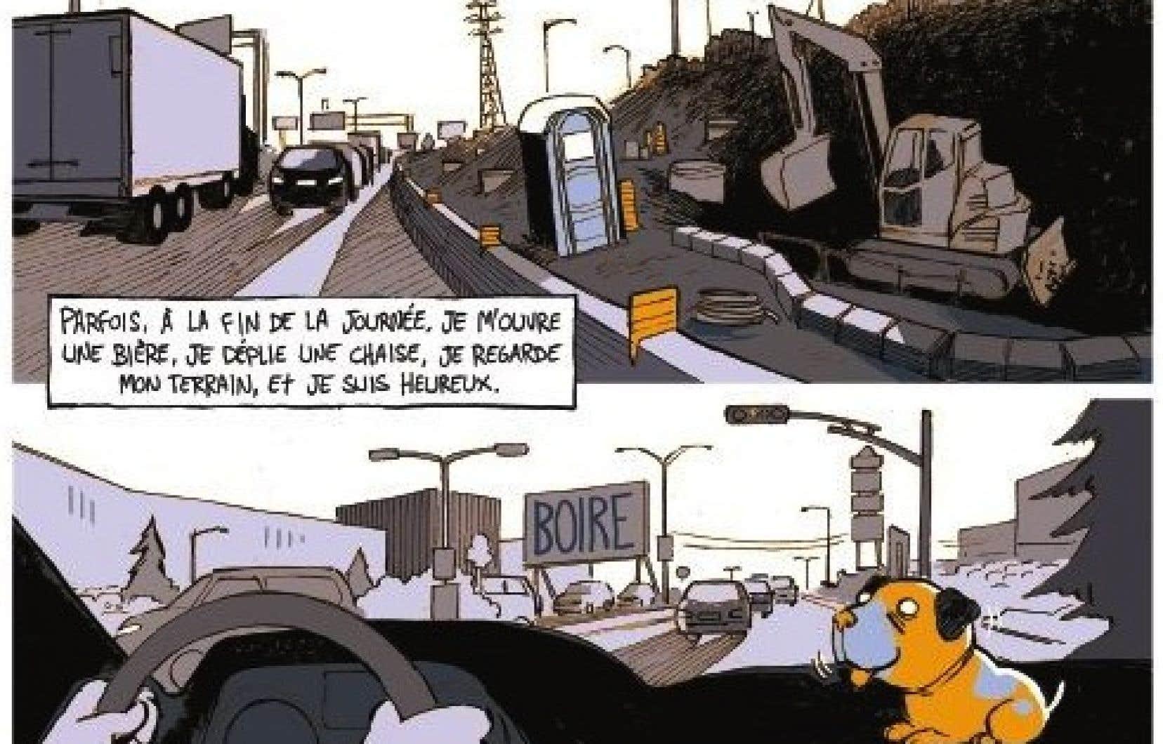 Une planche (détail) tirée de l'album «Traverser l'autoroute»
