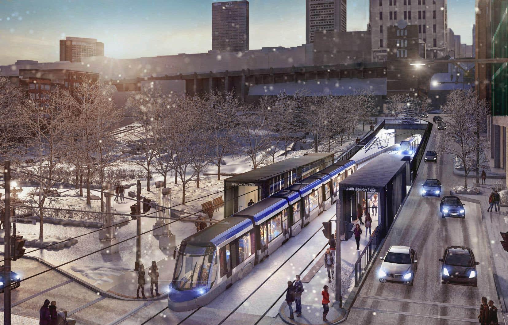 Le projet de la Ville de Québec prévoit l'ajout d'une ligne de tramway de près de 23 kilomètres, de trambus et d'infrastructures dédiées.