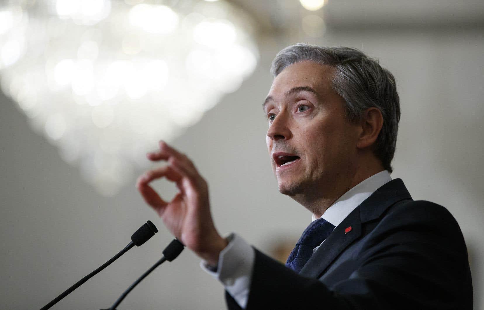 Le ministre canadien des Affaires étrangères, François-Philippe Champagne