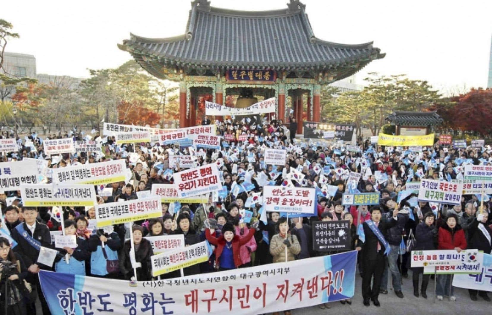 À Daegu, des Sud-Coréens ont scandé hier des slogans hostiles au régime nordiste.<br /> <br />
