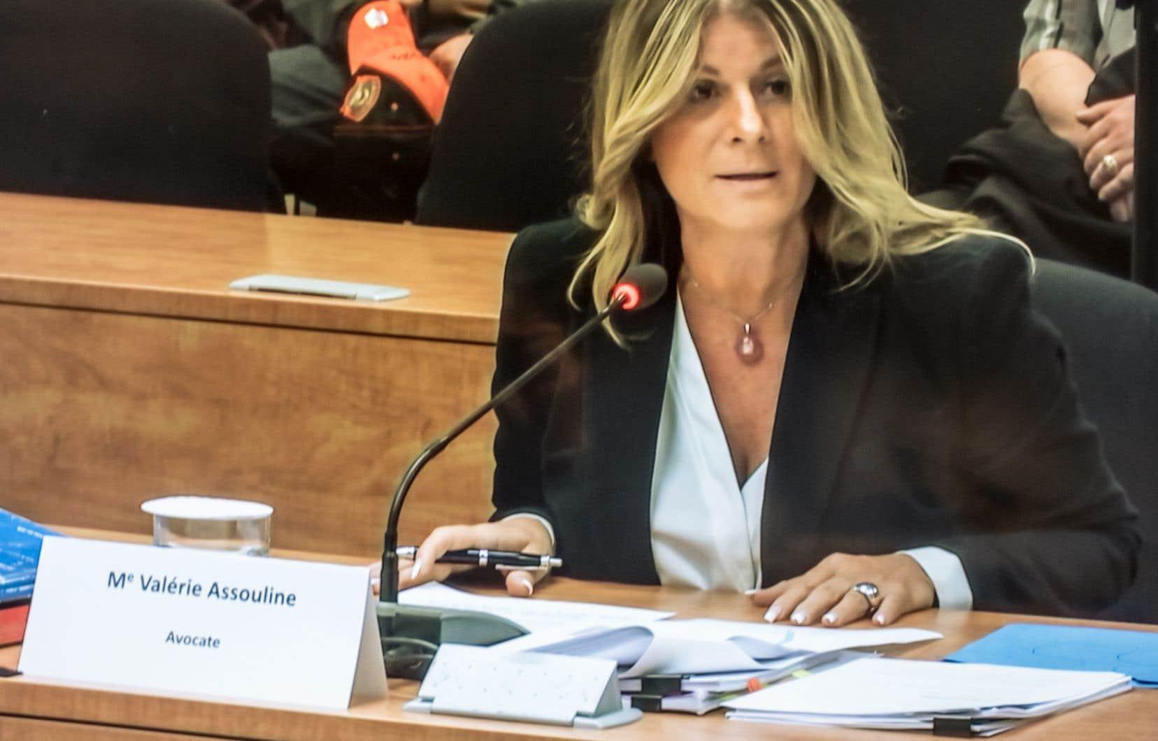 Me Valérie Assouline a fait, jeudi, devant la commission la déposition la plus animée depuis le début des travaux.