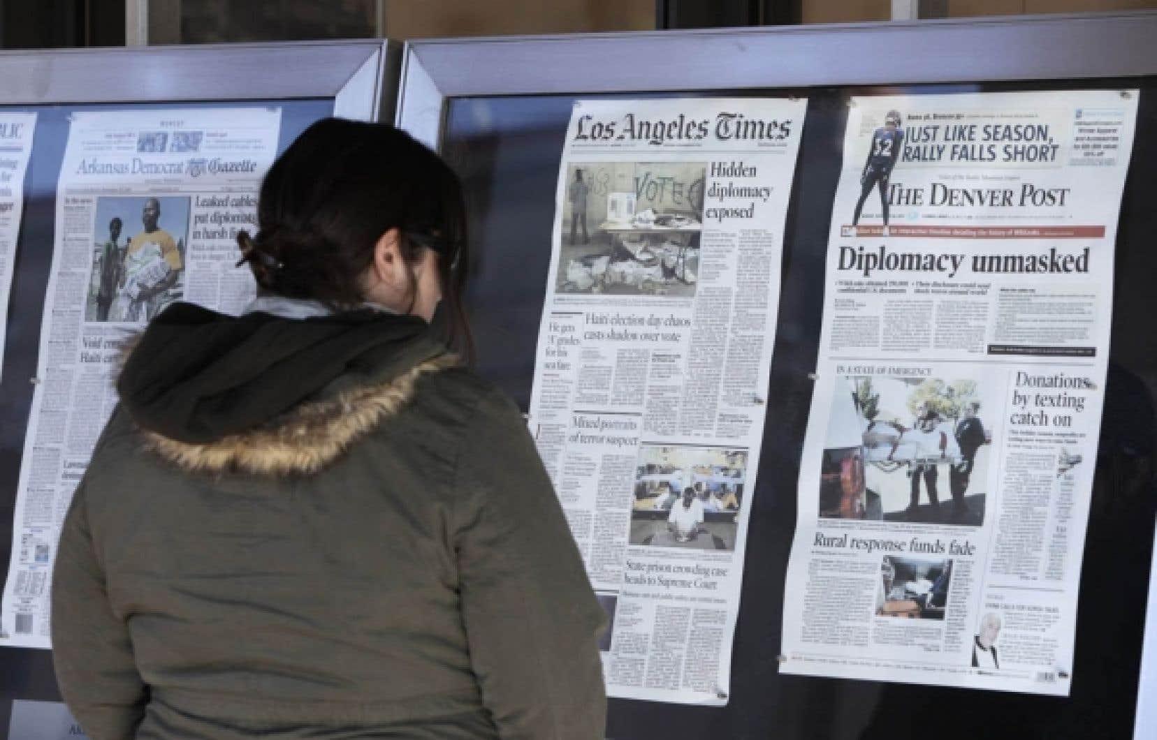Les révélations de WikiLeaks ont fait les manchettes de tous les journaux aux États-Unis hier.<br />