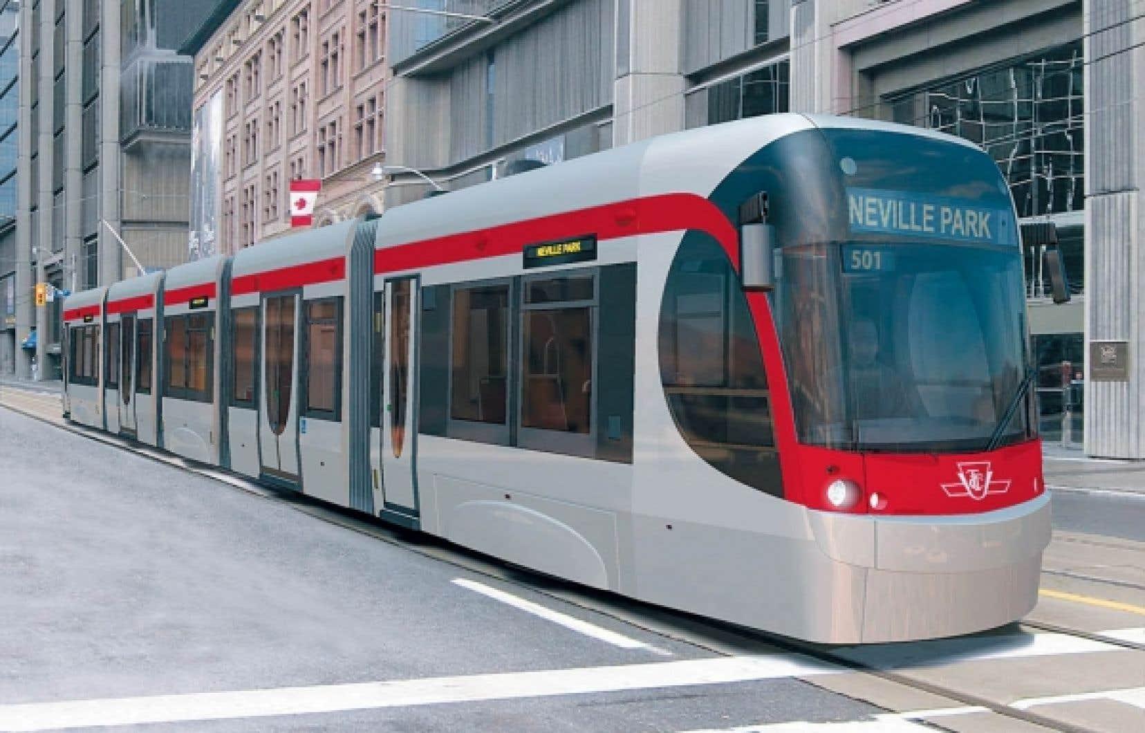 Le nouveau maire de Toronto veut mettre un frein au développement des trains de surface. Sur l'image, le projet de tramway dessiné par Bombardier.<br />