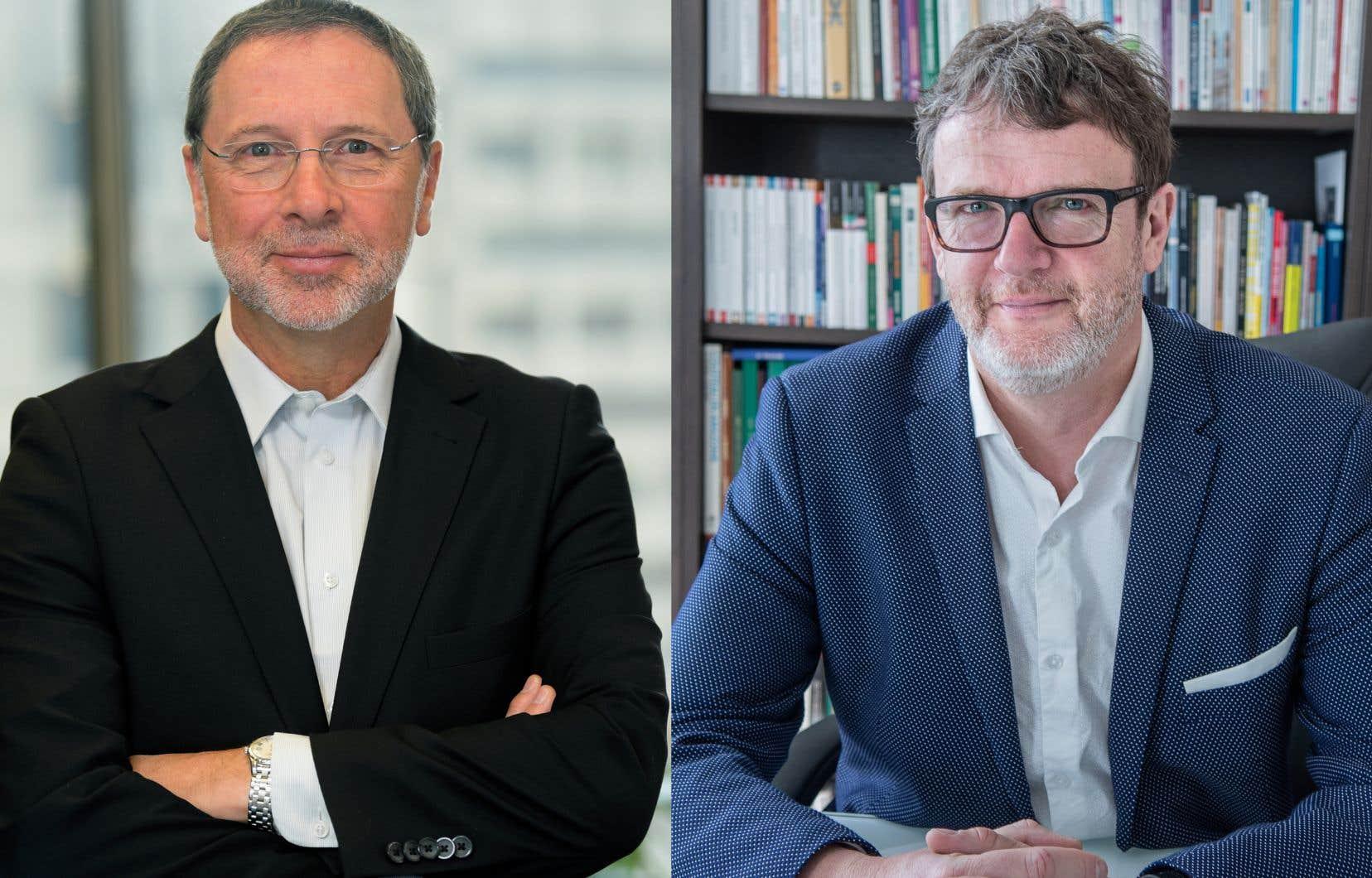 Le président du CPQ, Yves-Thomas Dorval (à gauche) et le président de la CSN, Jacques Létourneau (à droite)