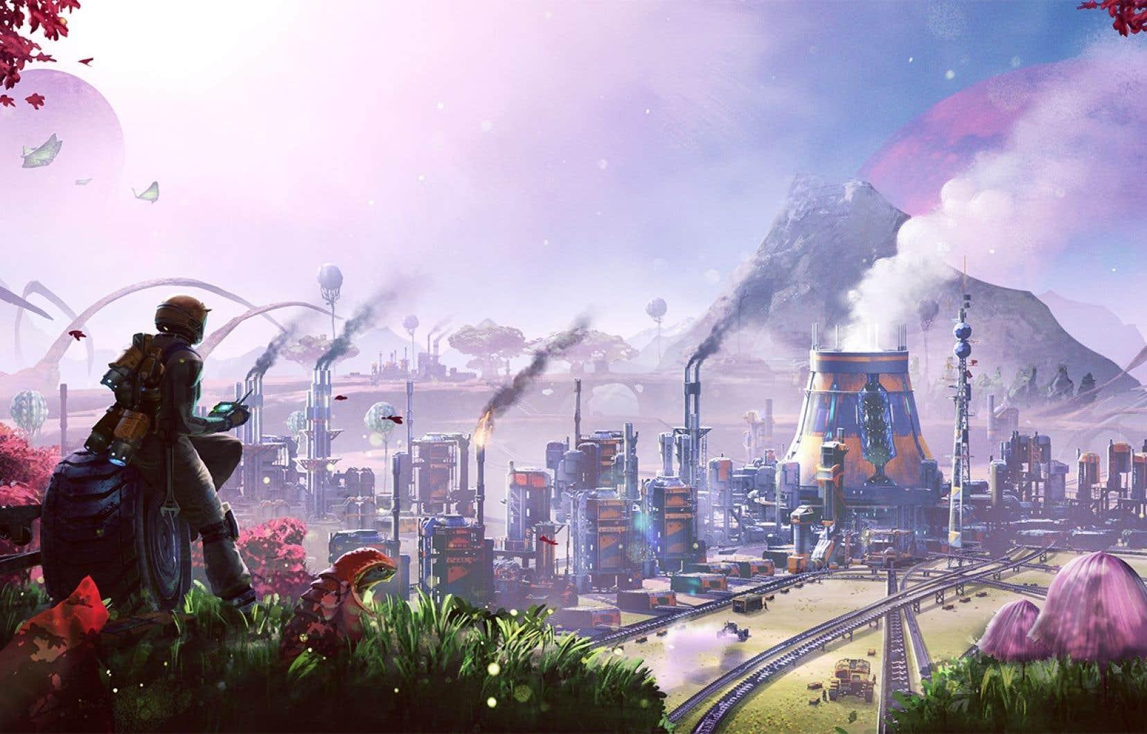 «Satisfactory» offre des paysages sublimes et colorés, que le joueur pourra s'empresser de défigurer avec ses machines et ses kilomètres de convoyeurs.