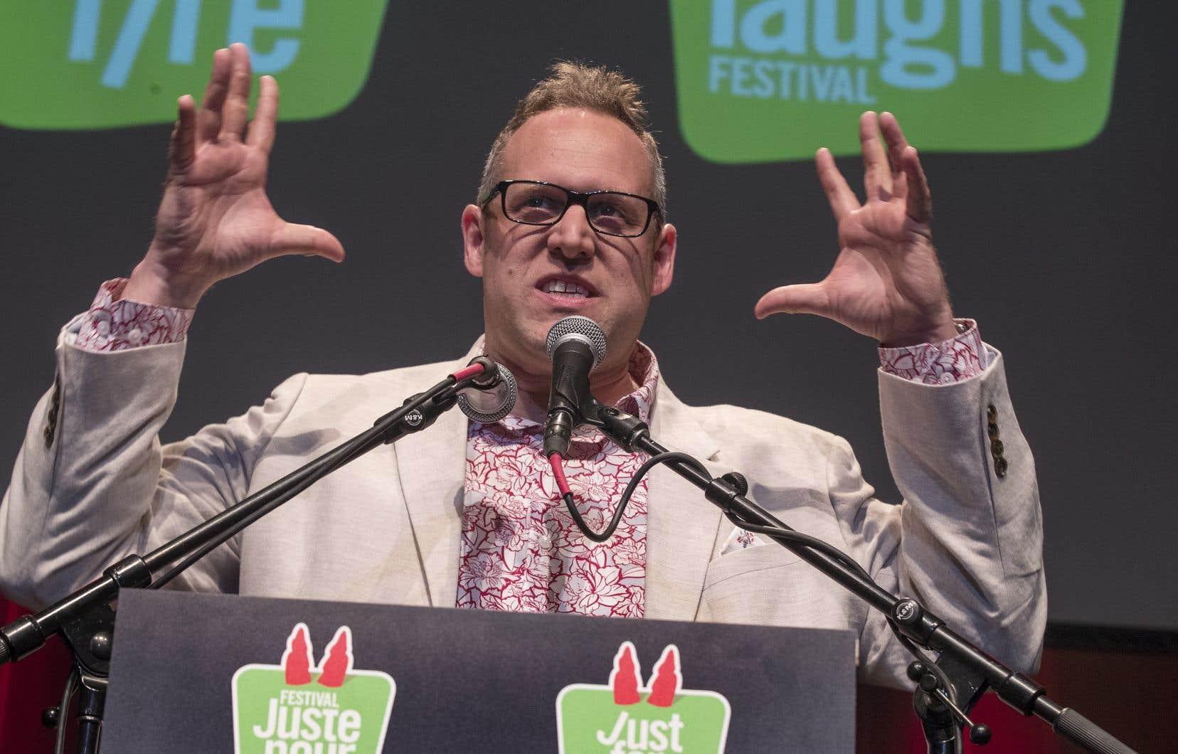 Patrick Rozon, le vice-président au contenu francophone du Groupe Juste pour rire, lors du dévoilement de la programmation du festival en 2018