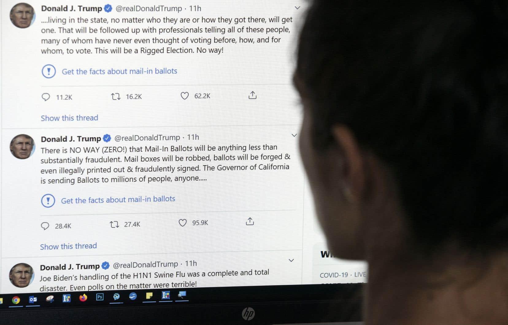 Twitter a signalé pour la première fois mardi des messages du président, en ajoutant la mention: «Vérifiez les faits».