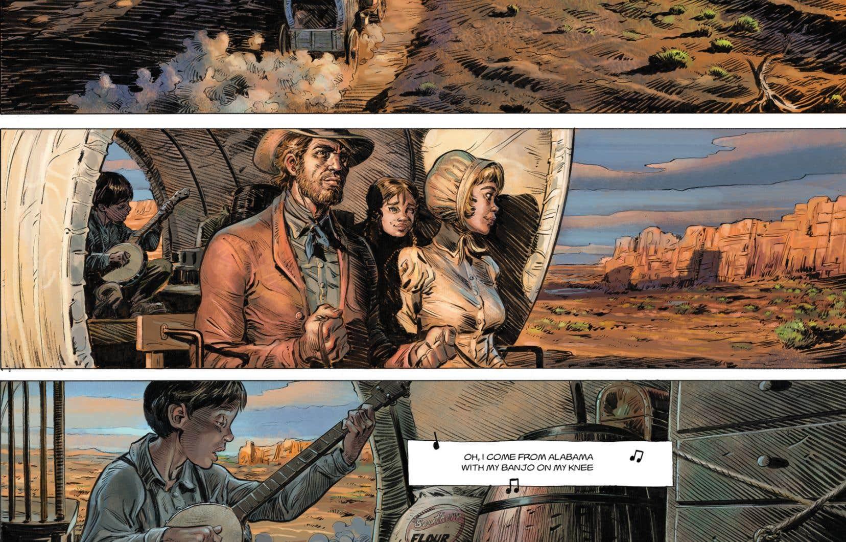 Détail d'une planche de la bande dessinée «Wild West – 1. Calamity Jane»