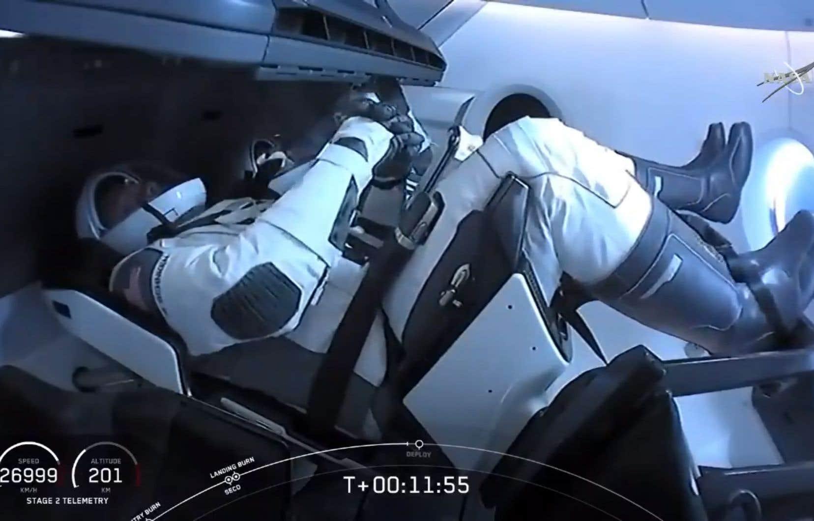 Les astronautes de la NASA Bob Behnken et Doug Hurley ont décollé samedi le 30 mai 2020 depuis le Kennedy Space Center en Floride.