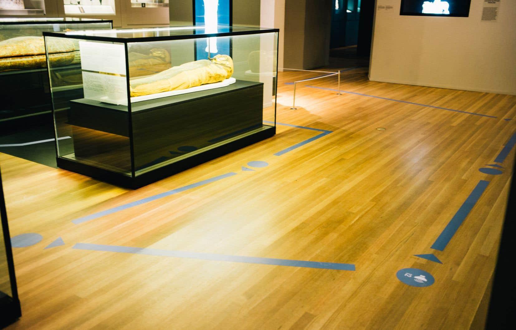 Au Musée des beaux-arts de Montréal, des flèches et des pastilles indiquent, tous les deux mètres, où poser les pieds et où attendre.