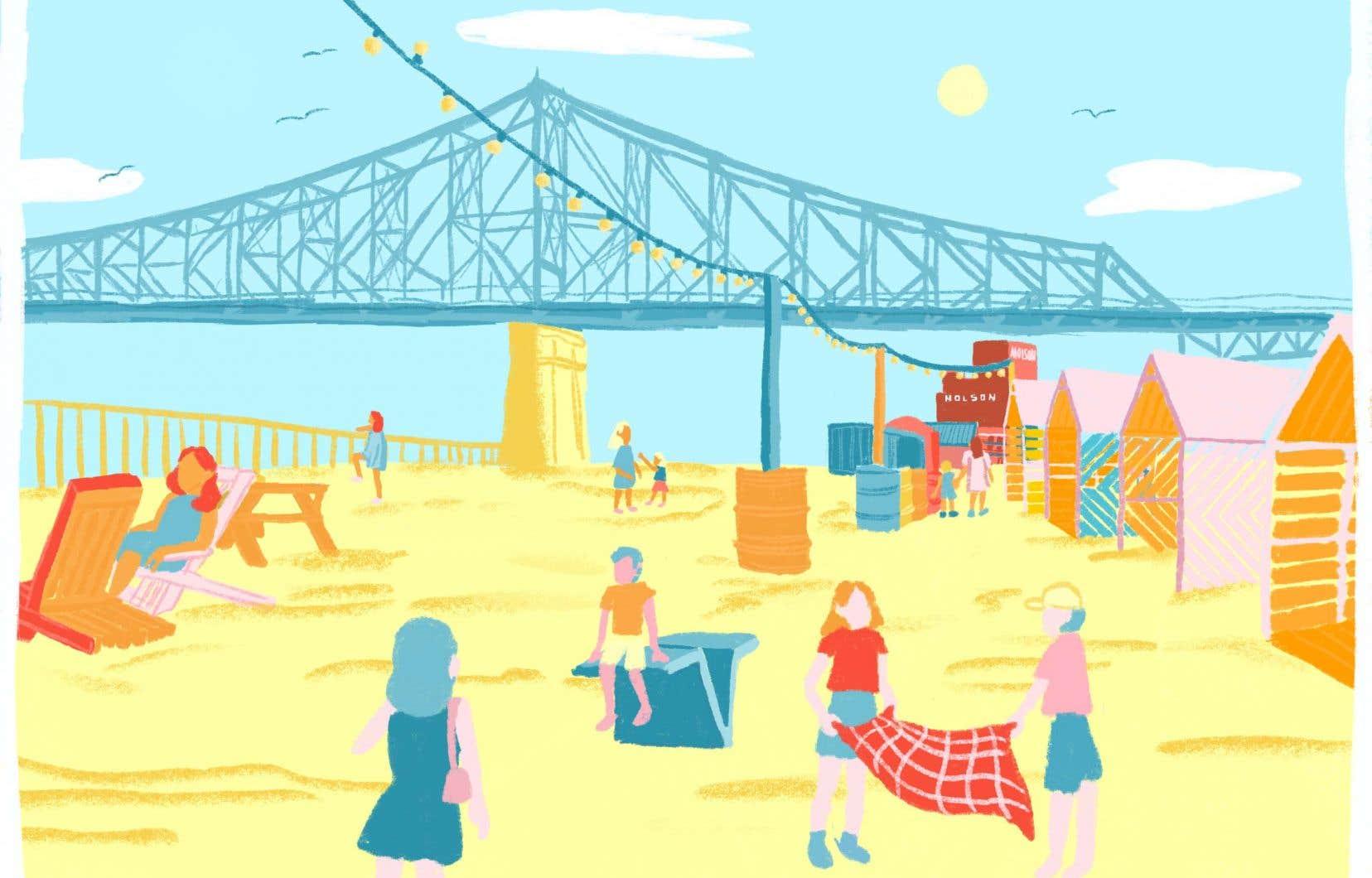 Sur le site du Village au Pied-du-Courant, situé près du pont Jacques-Cartier, les aménagements urbains seront minimalistes et les mesures sanitaires seront variées pour réduire les risques de propagation.