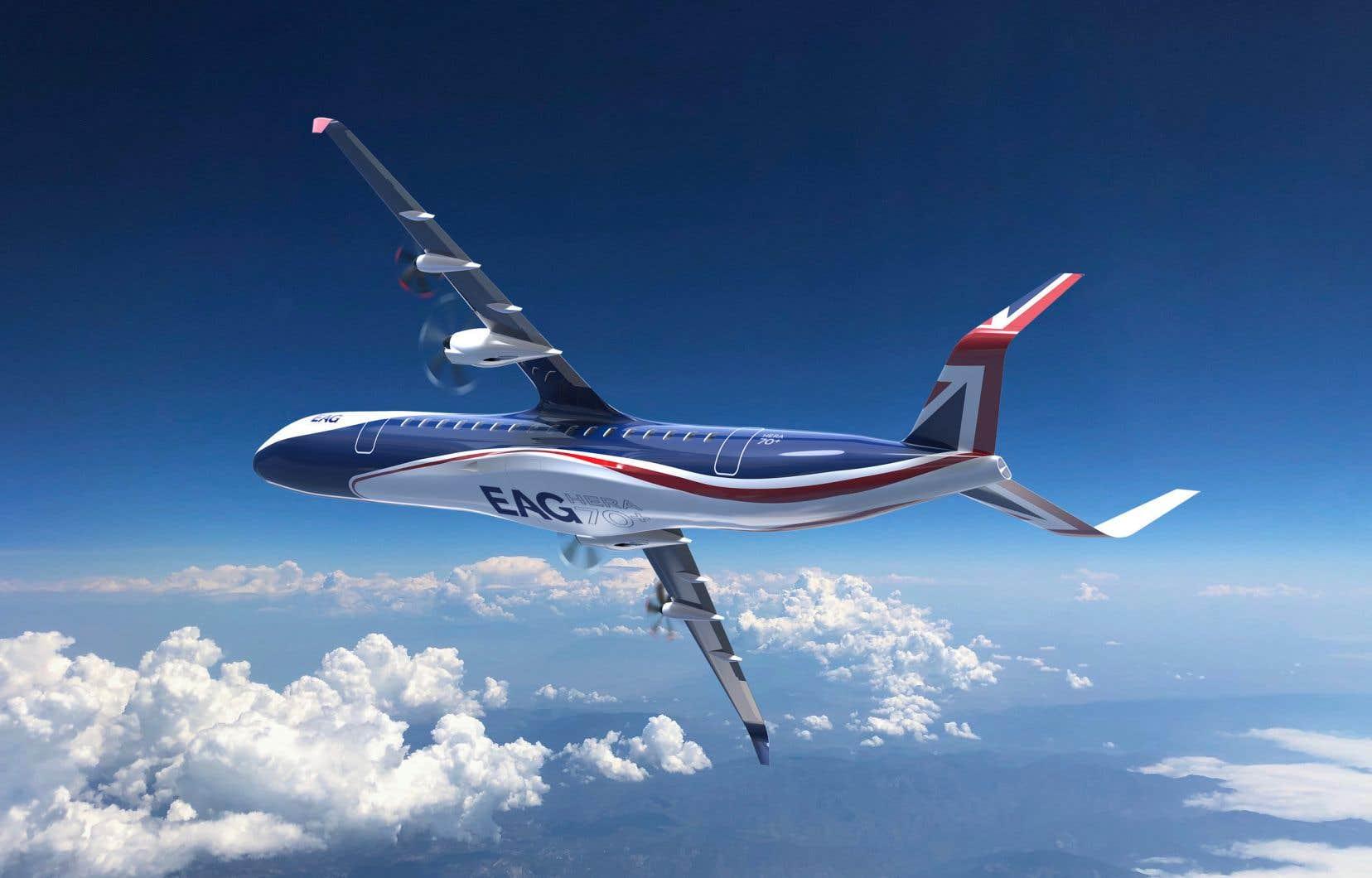 Un rendu 3D du concept d'avion hybride. Celui-ci pourrait transporter plus de 70 personnes, selon le cabinet d'ingénierie EAG.