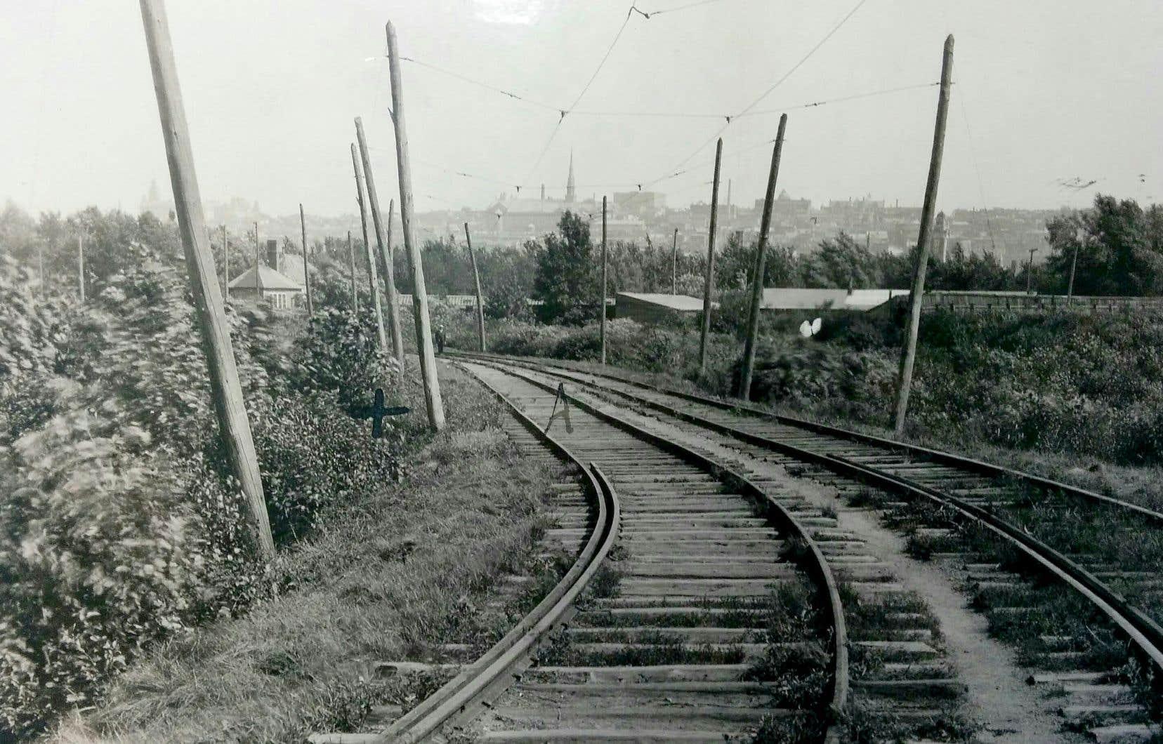 Le détournement de la rivière Saint-Charles à la fin des années 1950 a fait disparaître la scène du crime, marquée d'une croix sur cette photo de la police où l'on aperçoit la silhouette brumeuse du parlement, à l'extrême gauche.