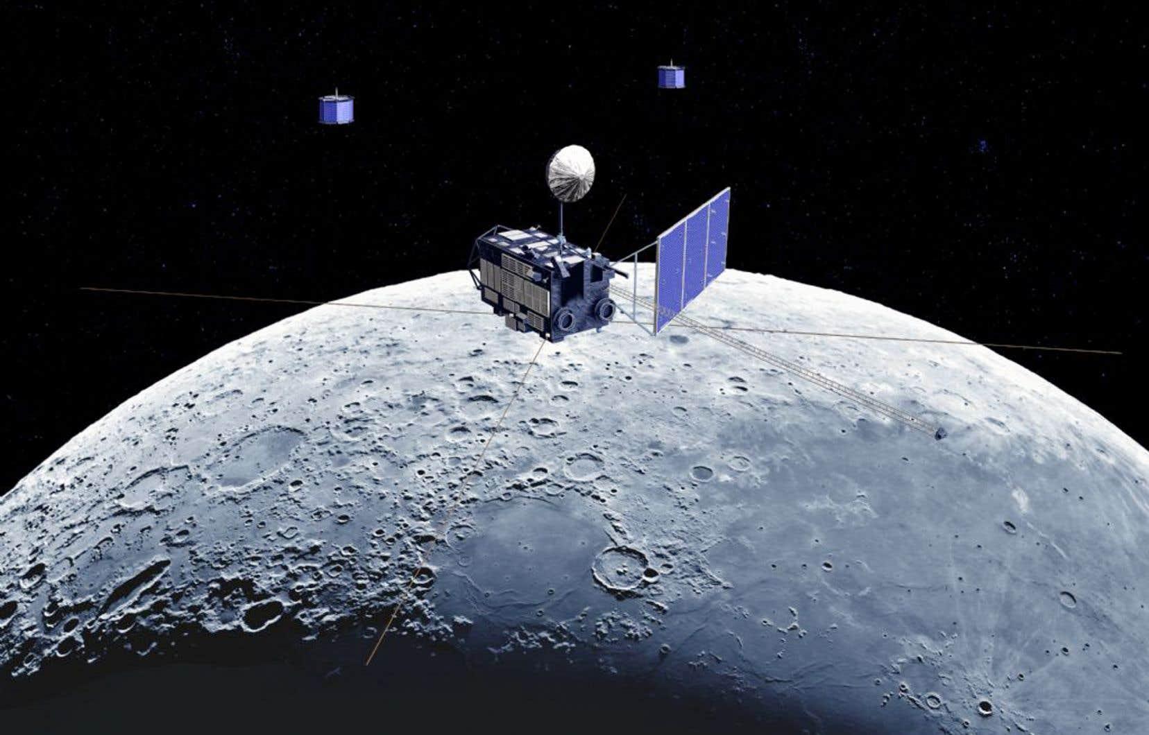 Illustration fournie par l'agence JAXA (Japan Exploration Agency) représentant la sonde japonaise Kaguya en survol lunaire