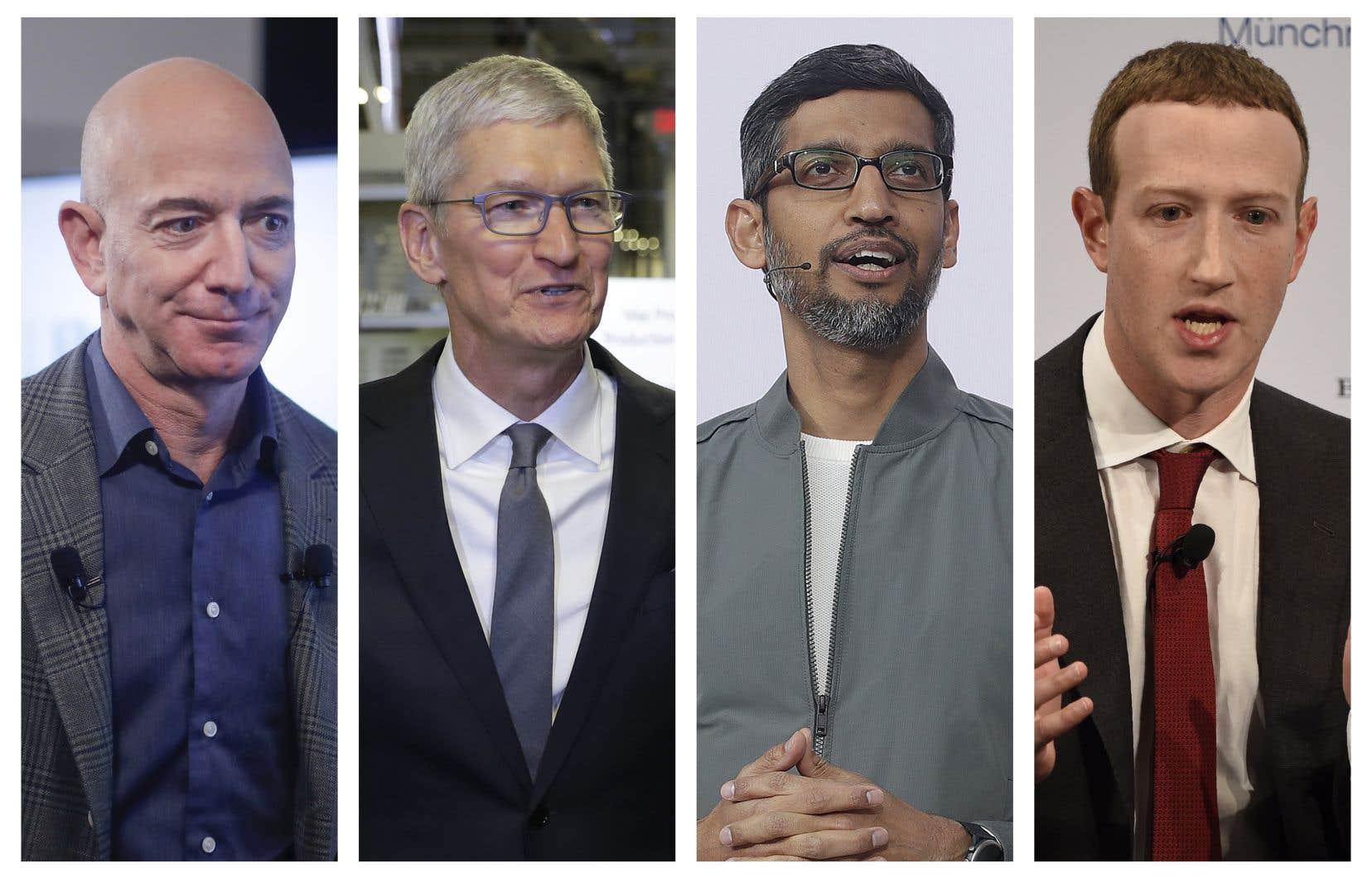 Jeff Bezos, Tim Cook, Sundar Pichai et Mark Zuckerberg, respectivement chef de la direction d'Amazon, d'Apple, d'Alphabet (maison-mère de Google) et de Facebook, sont auditionnés mercredi par visioconférence par la commission judiciaire de la Chambre des représentants.