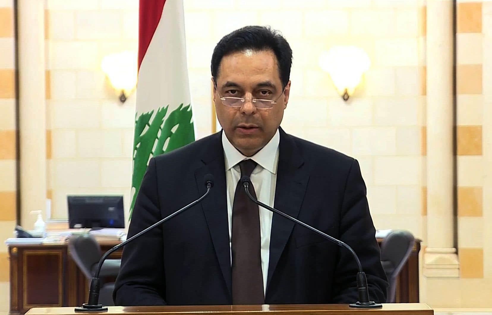 «Aujourd'hui, j'annonce la démission de ce gouvernement», a déclaré le premier ministre Hassan Diab dans un discours télévisé adressé aux Libanais.