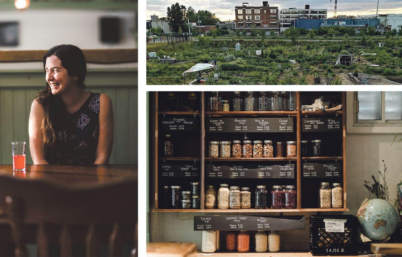 Le restaurant La Place commune, cofondée par Geneviève Boulay, regroupe plusieurs projets, tels un jardin, une épicerie biologique et une cuisine de transformation de fruits et légumes locaux.
