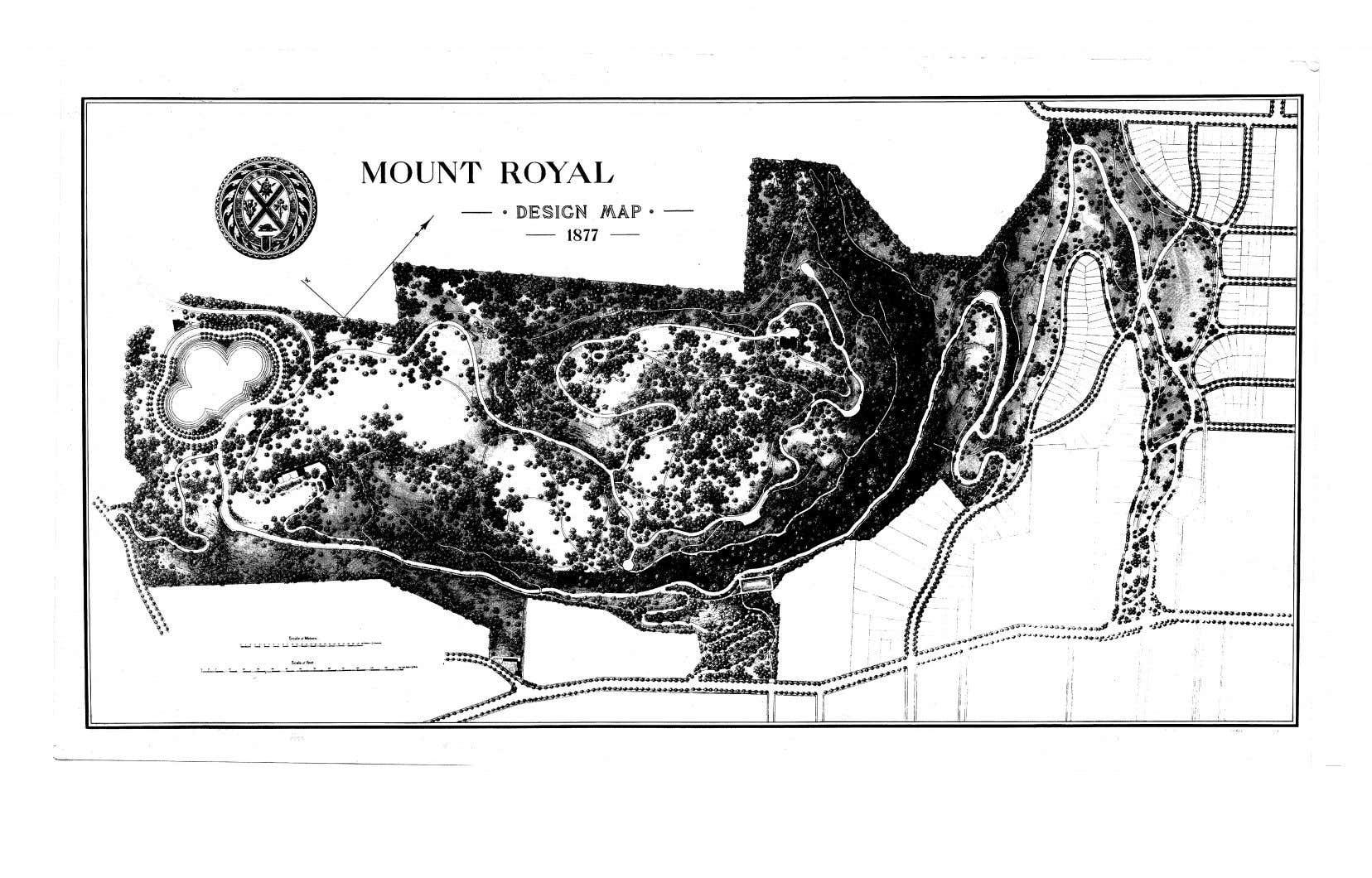 Un plan du parc du Mont-Royal tel qu'imaginé par Frederick Law Olmsted